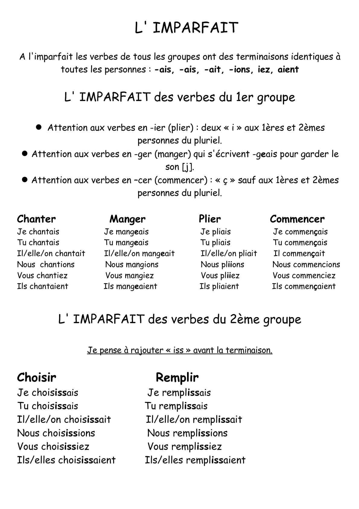 Calameo Cycle 3 Conjugaison Imparfait Cours