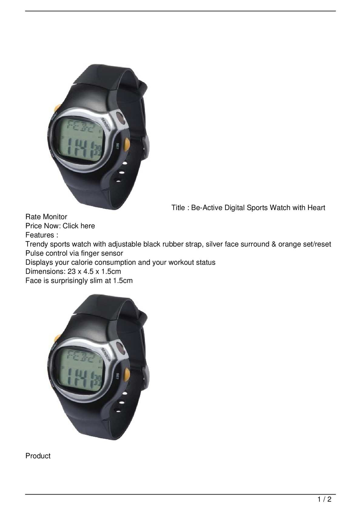 Calaméo - Be-Active Digital Sports Watch with Heart Rate