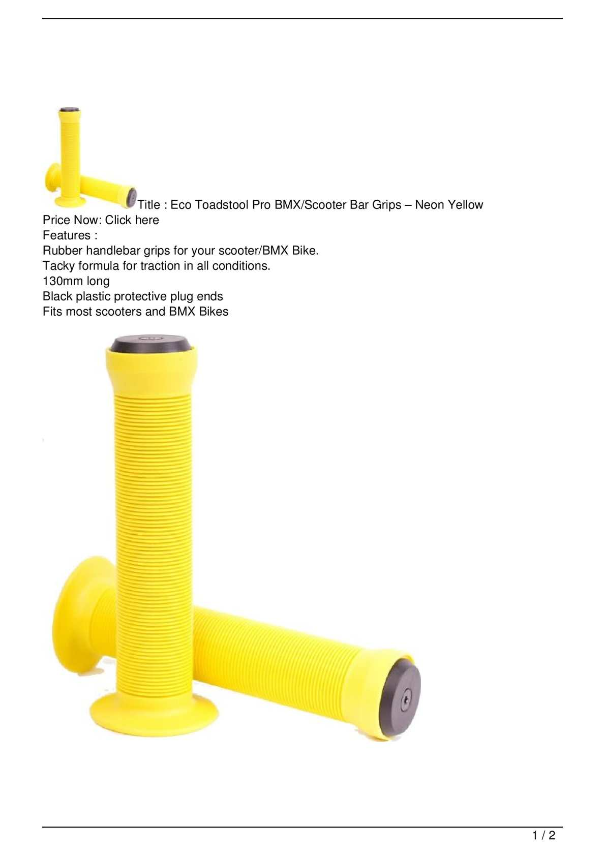 BMX Grips Eco Toadstool Scooter