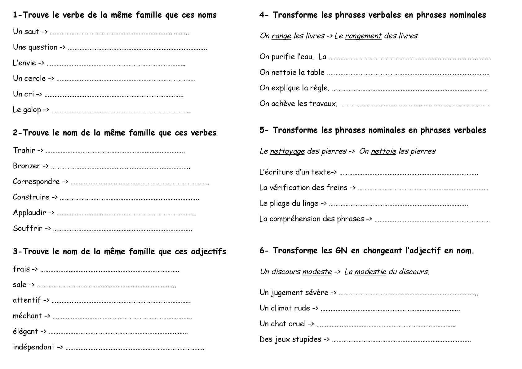 Calaméo - Cycle 3 : vocabulaire : famille mots (exercice)