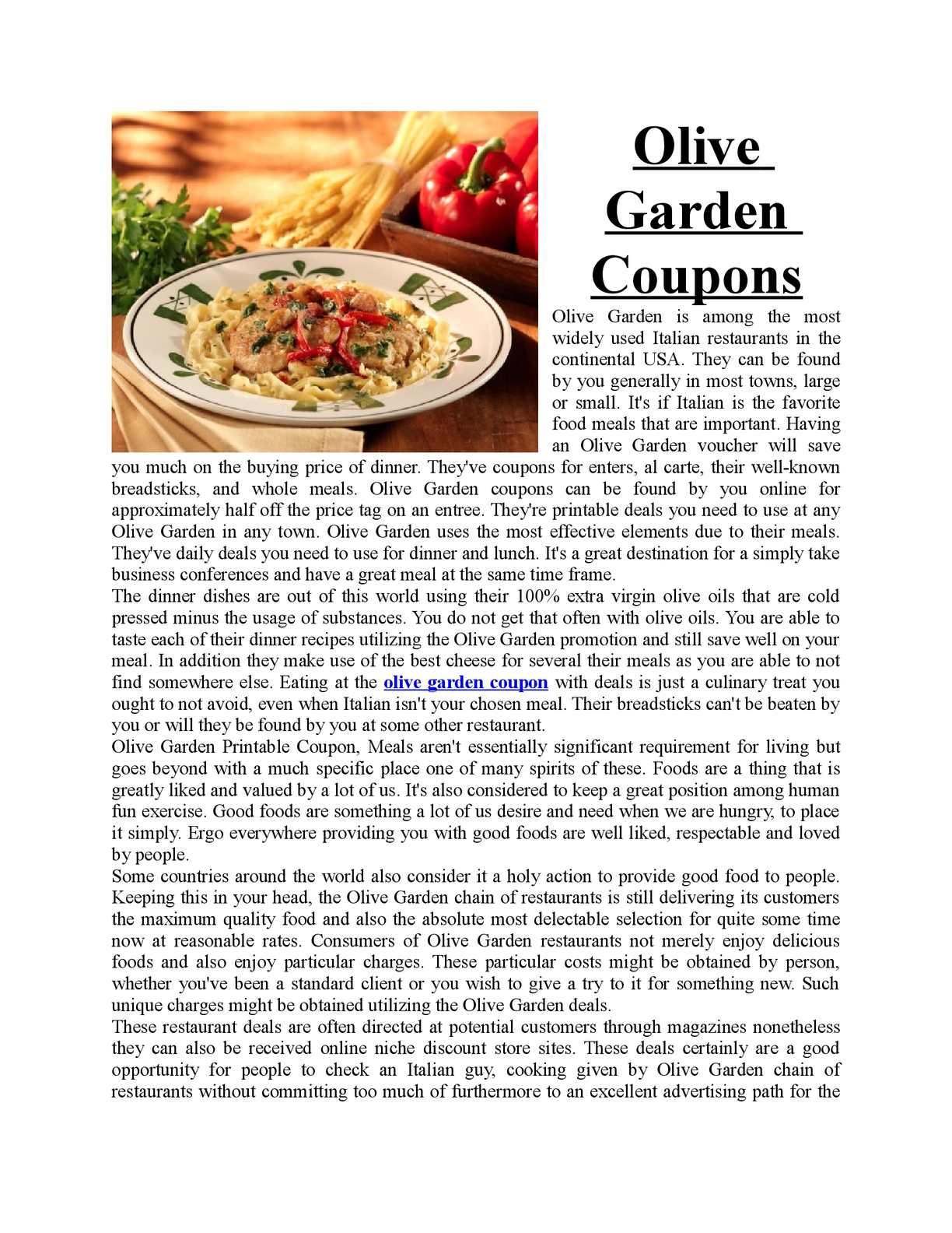 image regarding Olive Garden Printable Coupons known as Calaméo - print olive back garden discount codes