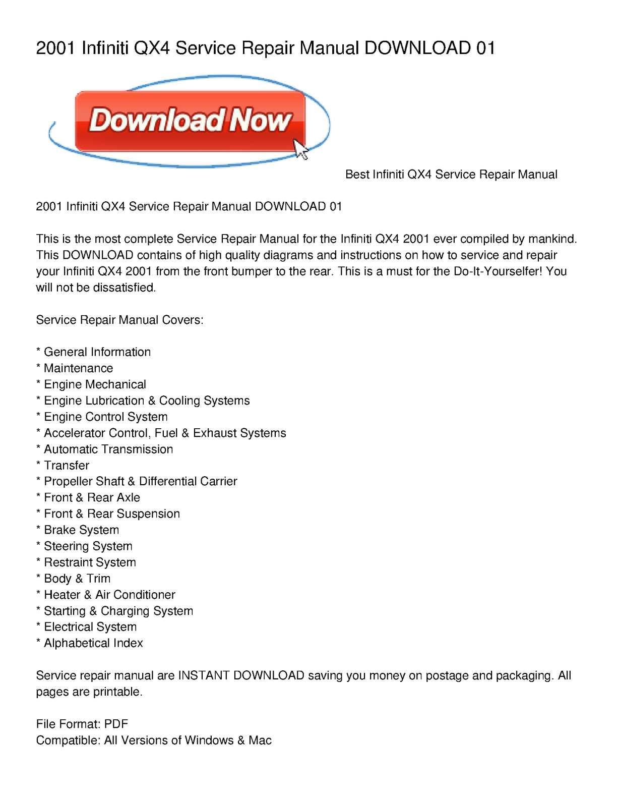 2001 infiniti qx4 service repair manual do pdf download