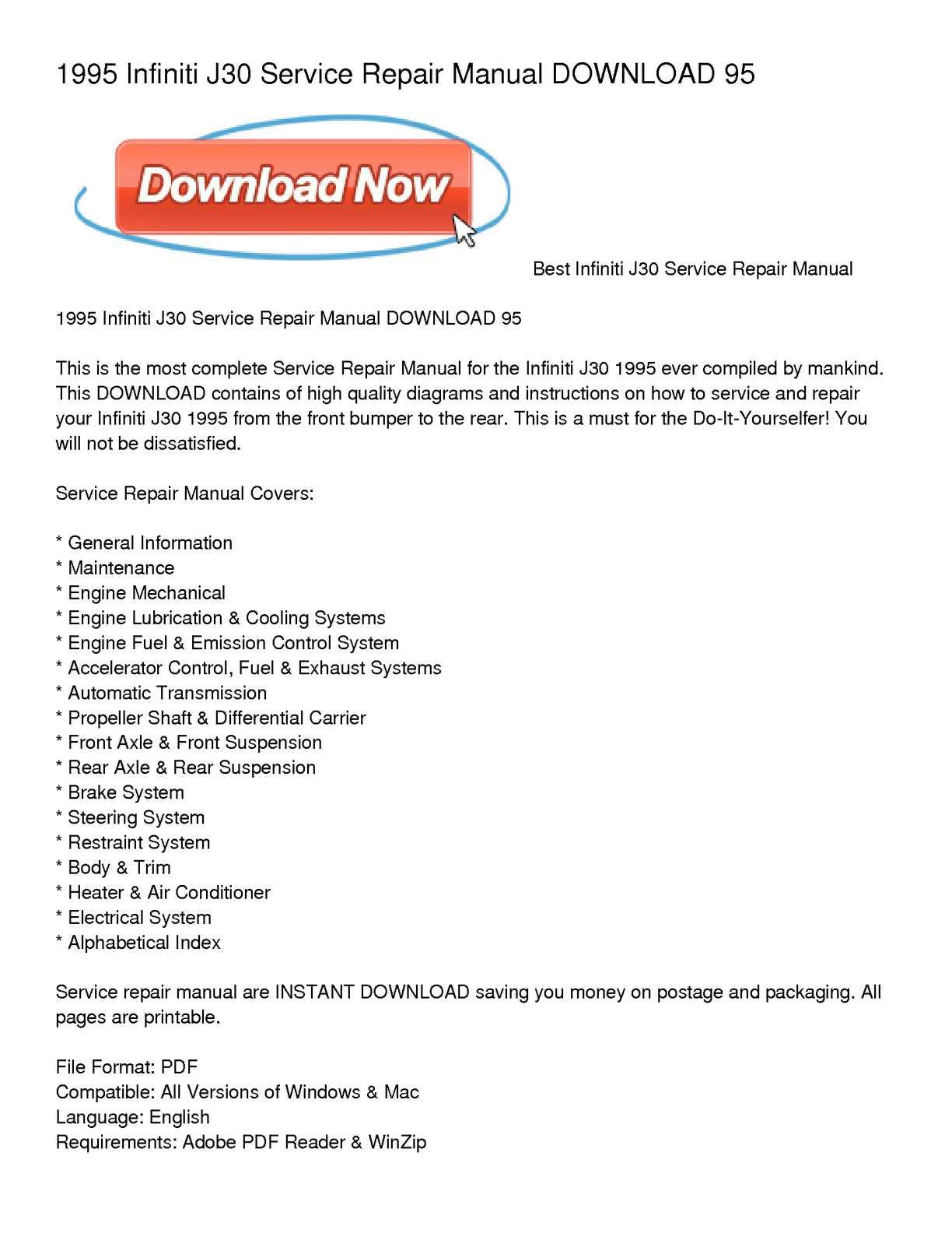 Calameo 1995 Infiniti J30 Service Repair Manual Download 95
