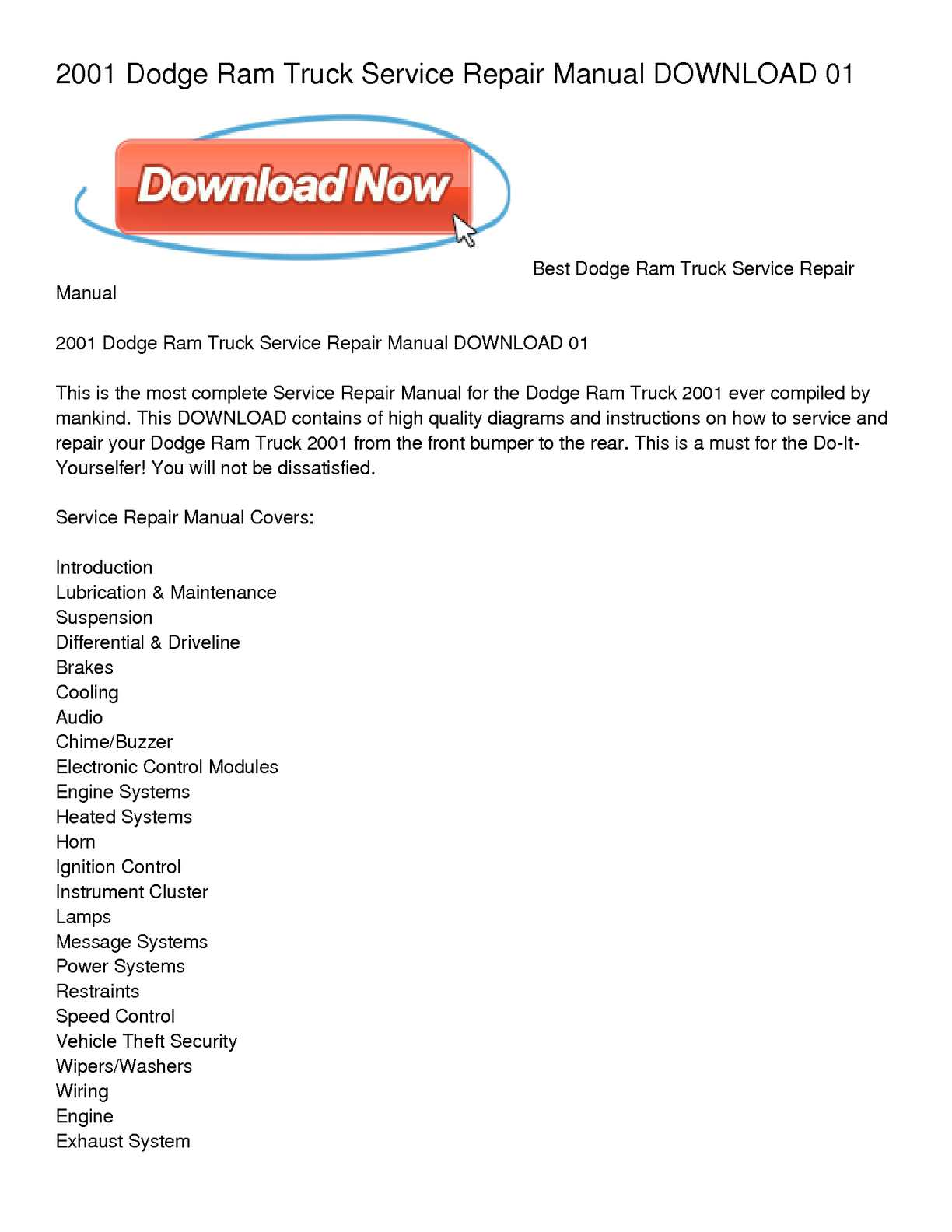 Calaméo - 2001 Dodge Ram Truck Service Repair Manual DOWNLOAD 01