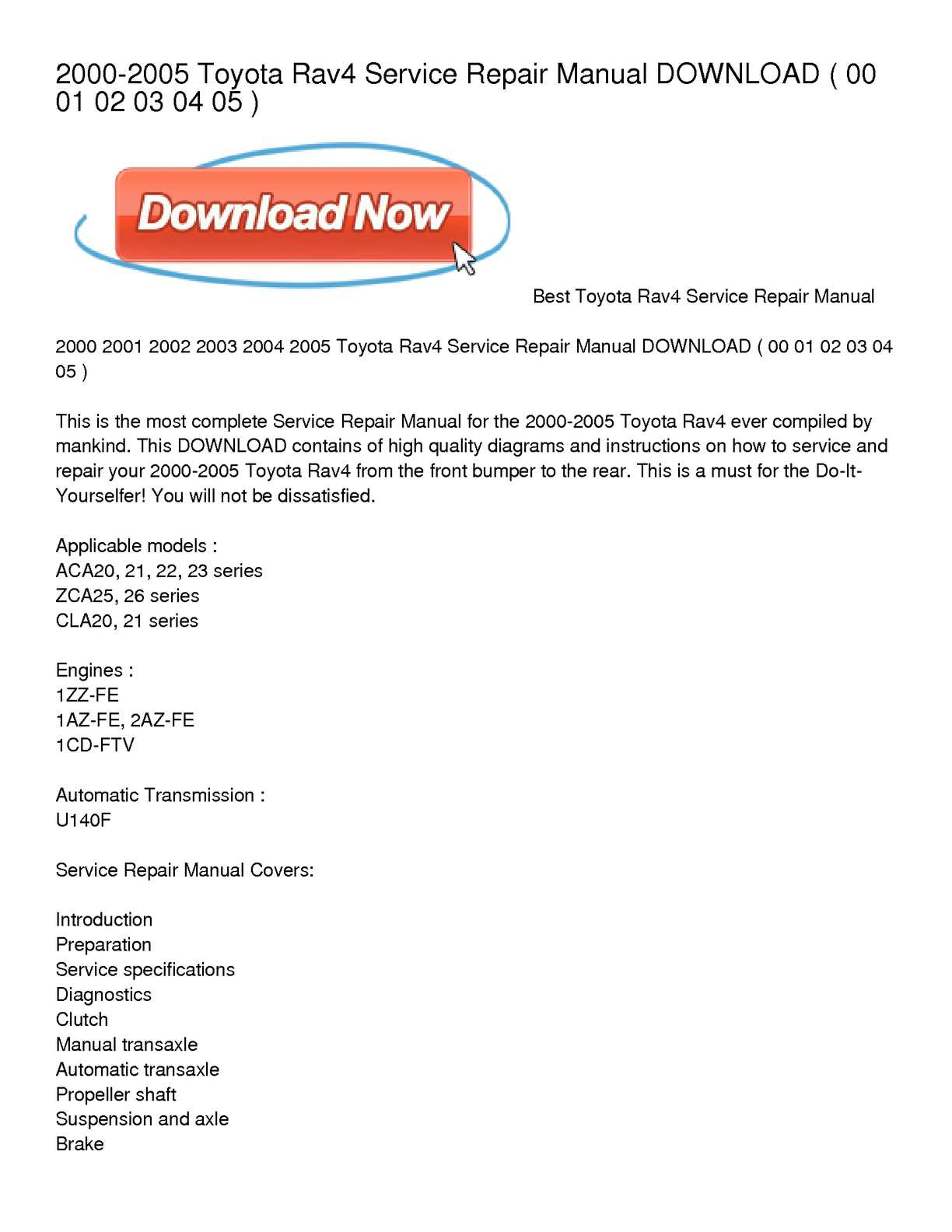 Toyota 2az Fe Engine Mechanical Service Manual Repair And 2004 Rav4 Diagram Calamo 2000 2005 Download