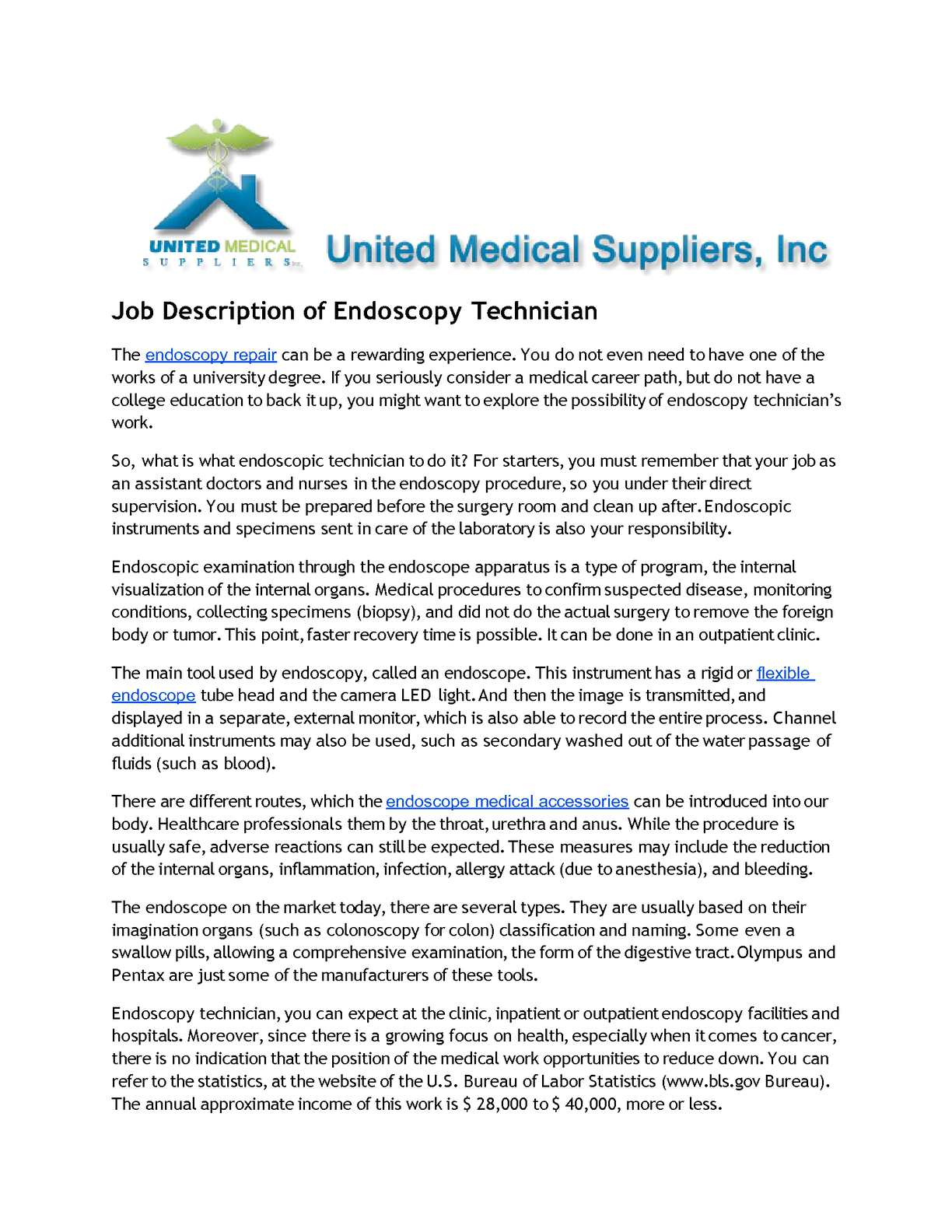 Endoscopy Cleaning Room: Job Description Of Endoscopy Technician