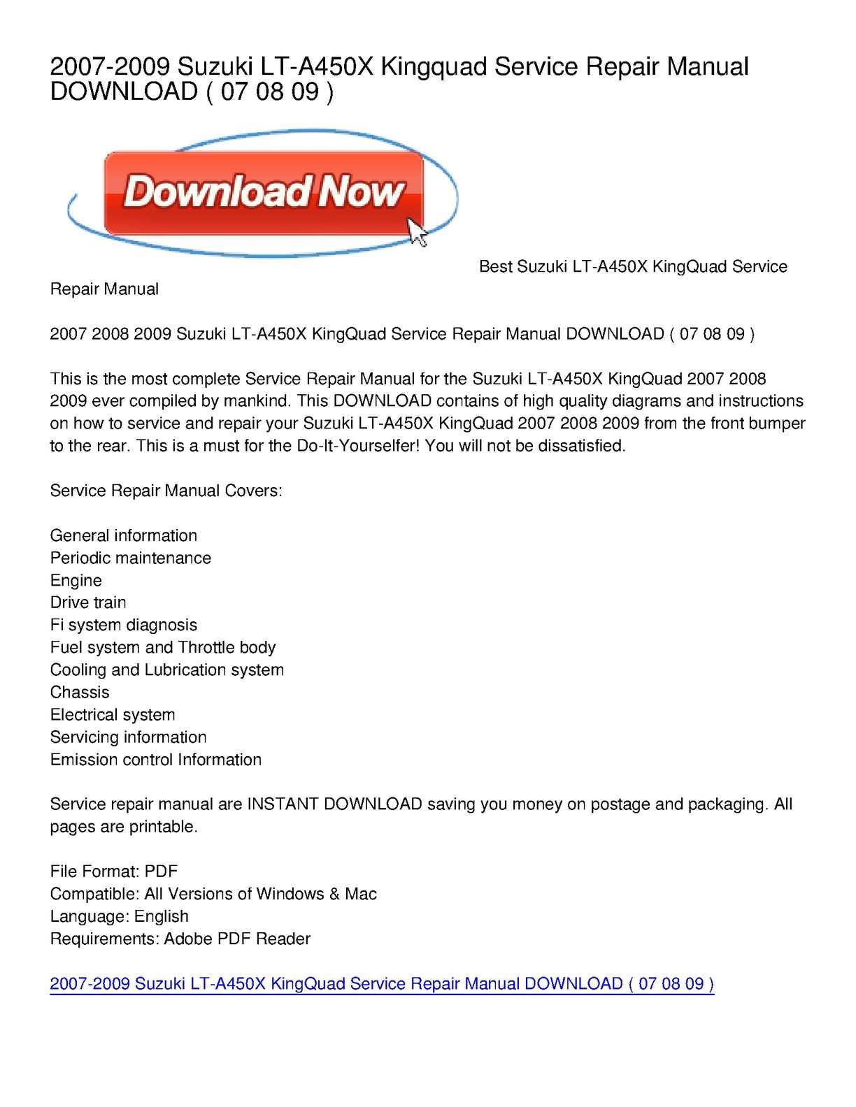 Calaméo - 2007-2009 Suzuki LT-A450X Kingquad Service Repair Manual DOWNLOAD