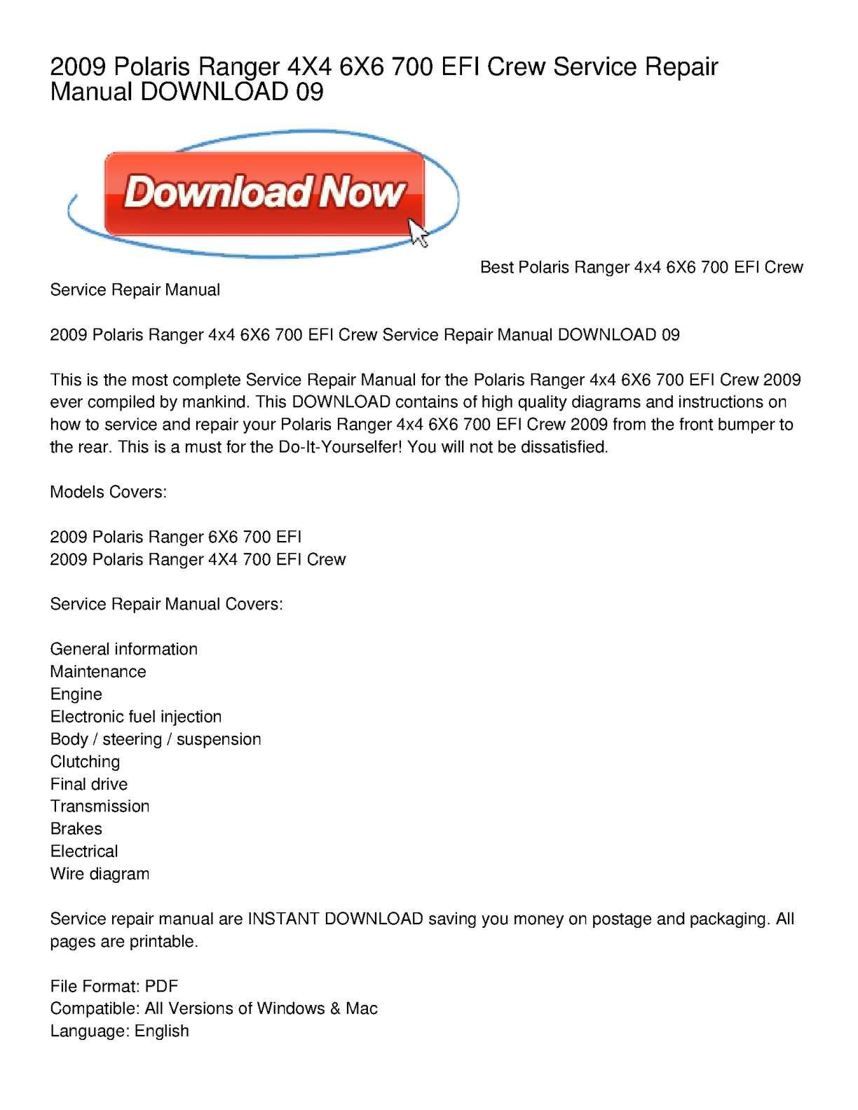 calam�o - 2009 polaris ranger 4x4 6x6 700 efi crew service repair manual  download 09