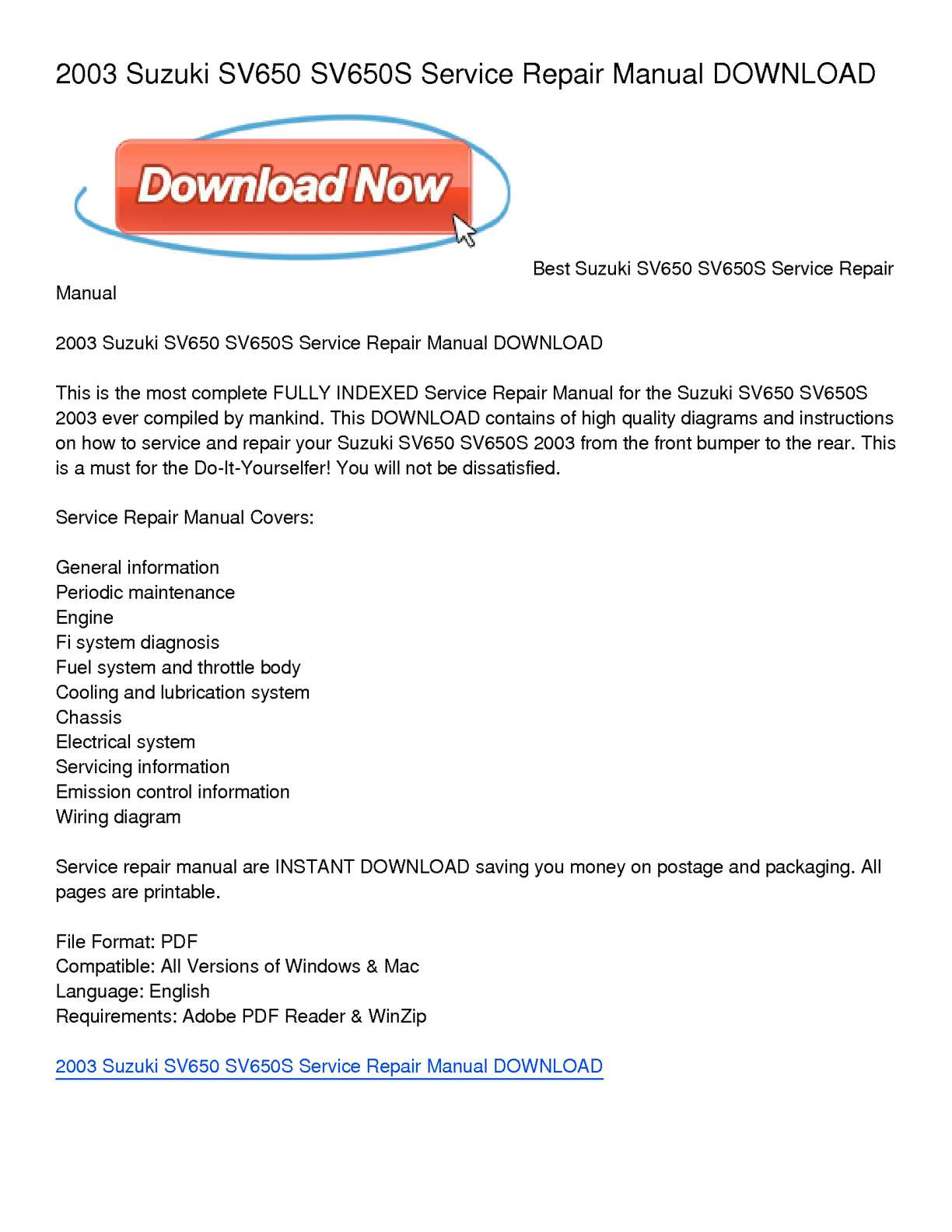images for suzuki sv cooling and lubrication system 1998 2002 suzuki sv650 servicerepair manual instant this is the mostplete service repair manual