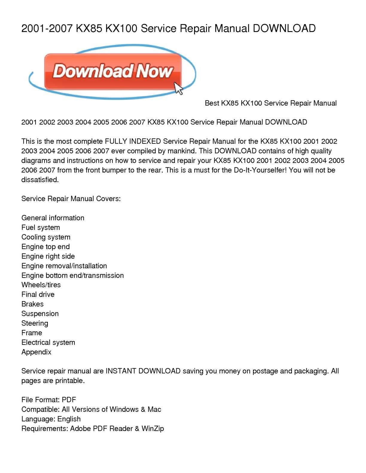 ... Array - calam o 2001 2007 kx85 kx100 service repair manual download rh  calameo ...