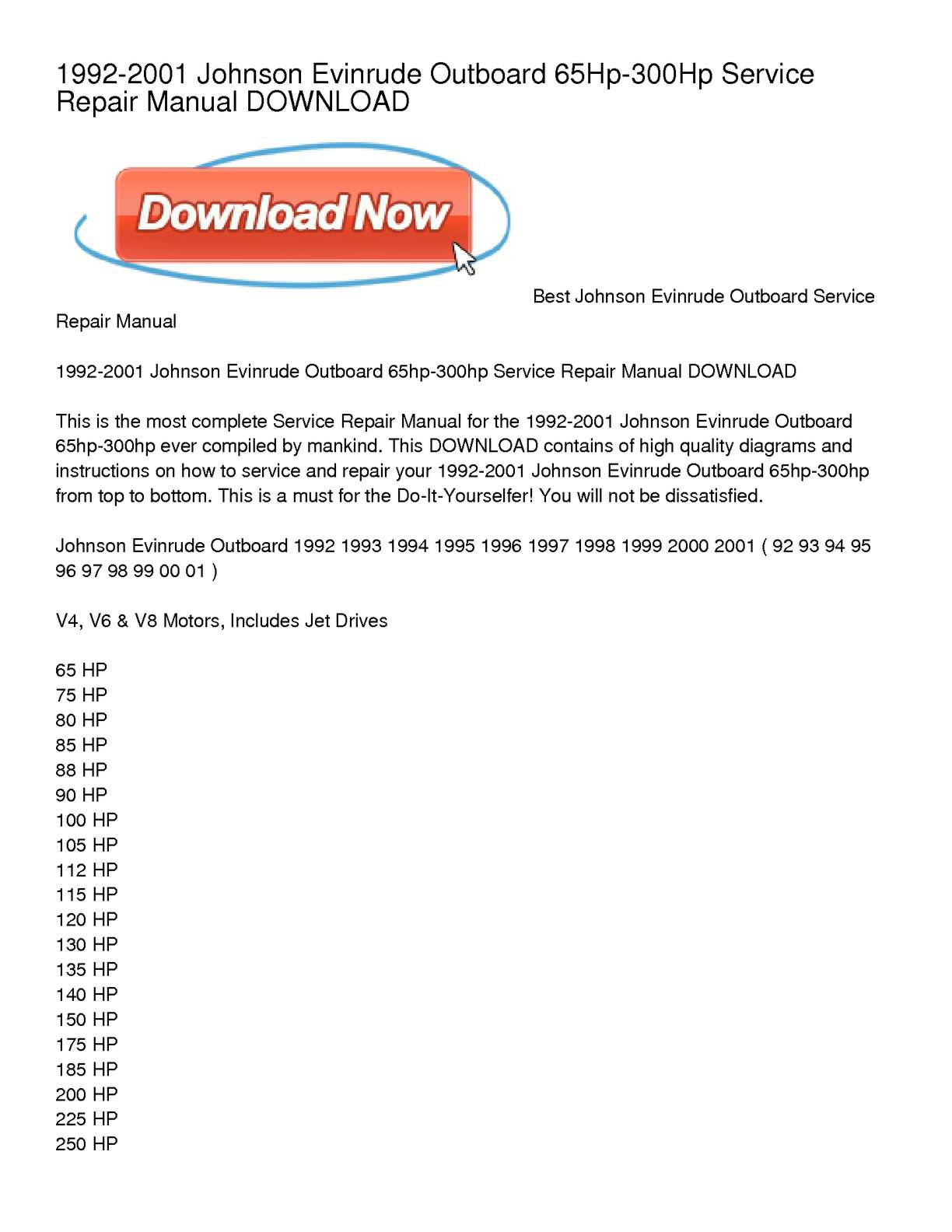 Calaméo - 1992-2001 Johnson Evinrude Outboard 65Hp-300Hp Service Repair  Manual DOWNLOAD