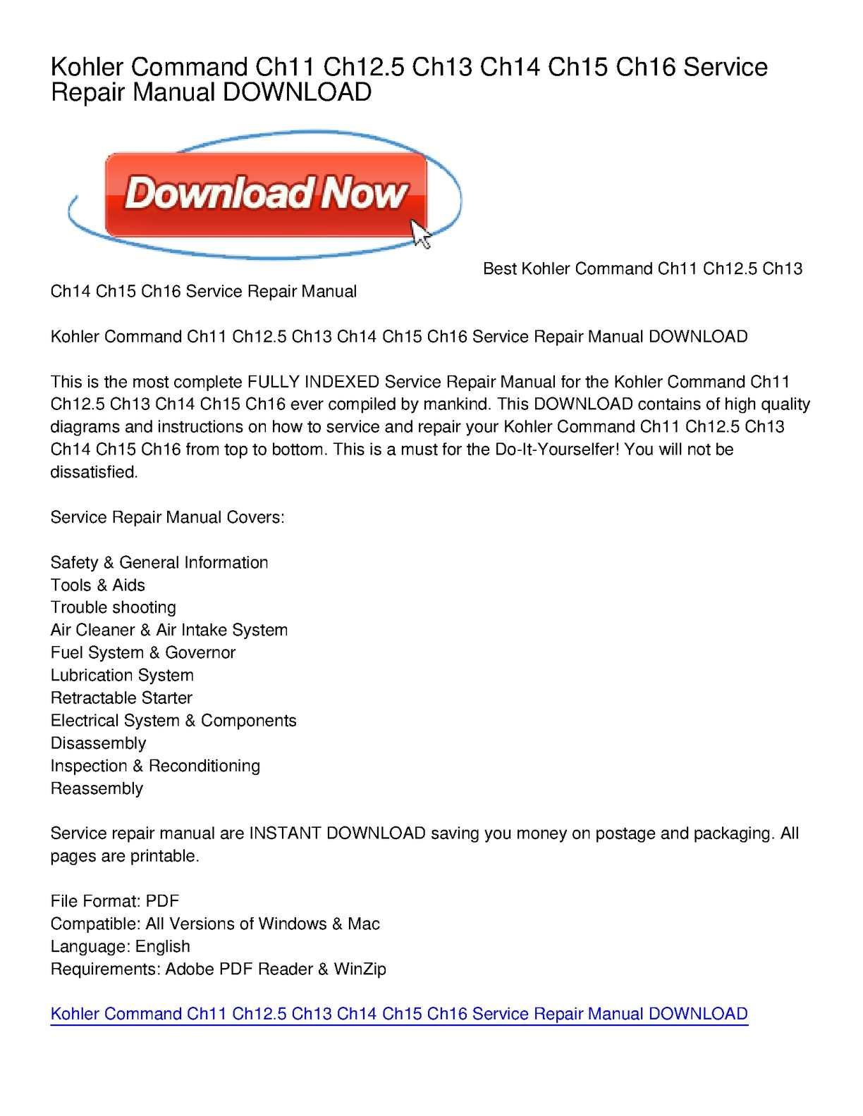 Calaméo - Kohler Command Ch11 Ch12.5 Ch13 Ch14 Ch15 Ch16 Service Repair  Manual DOWNLOAD