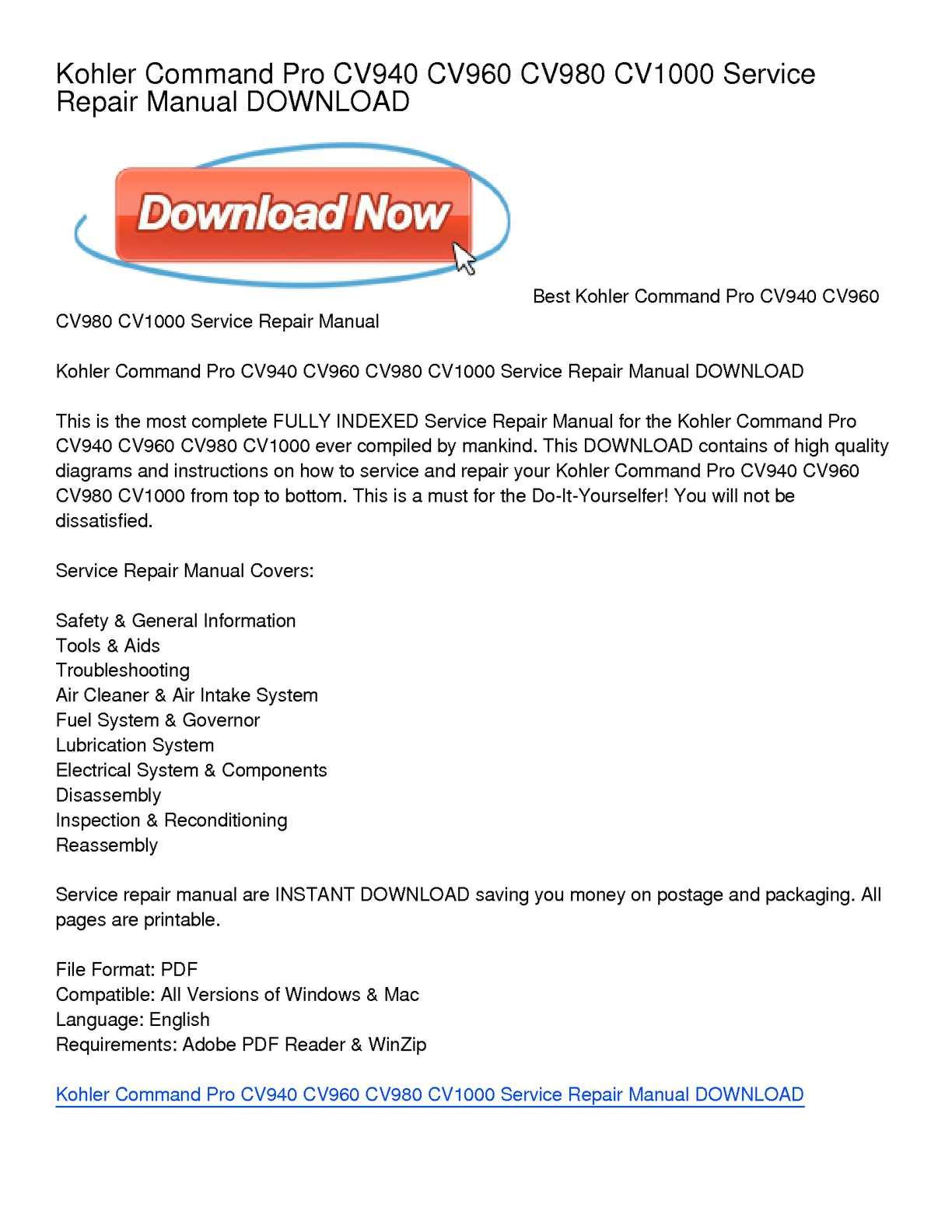 ... manual pdf elzplorers de Array - calam o kohler command pro cv940 cv960  cv980 cv1000 service repair rh calameo com