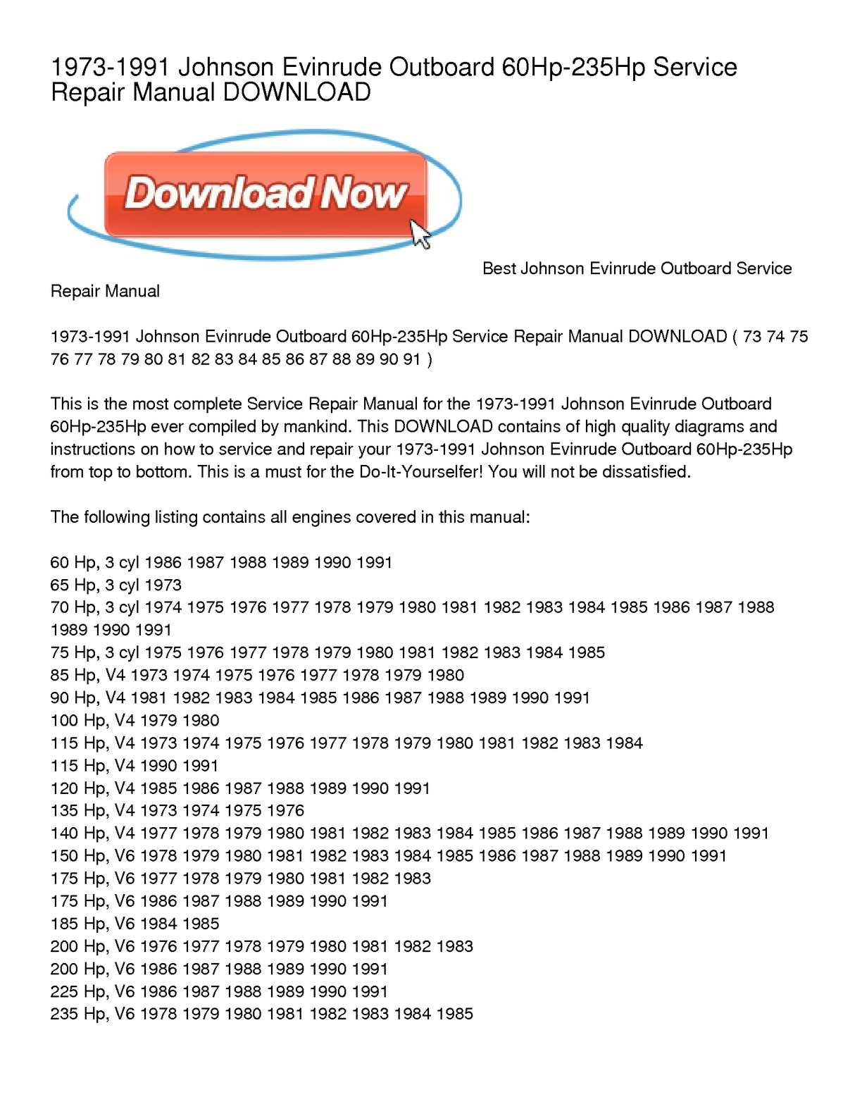 Calameo 1973 1991 Johnson Evinrude Outboard 60hp 235hp Service Repair Manual Download