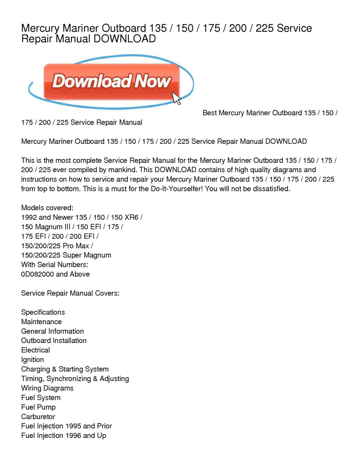 mercury xr6 outboard wiring diagram wiring library Mariner Motor Year Model calam o mercury mariner outboard 135 150 175 200 225 service repair