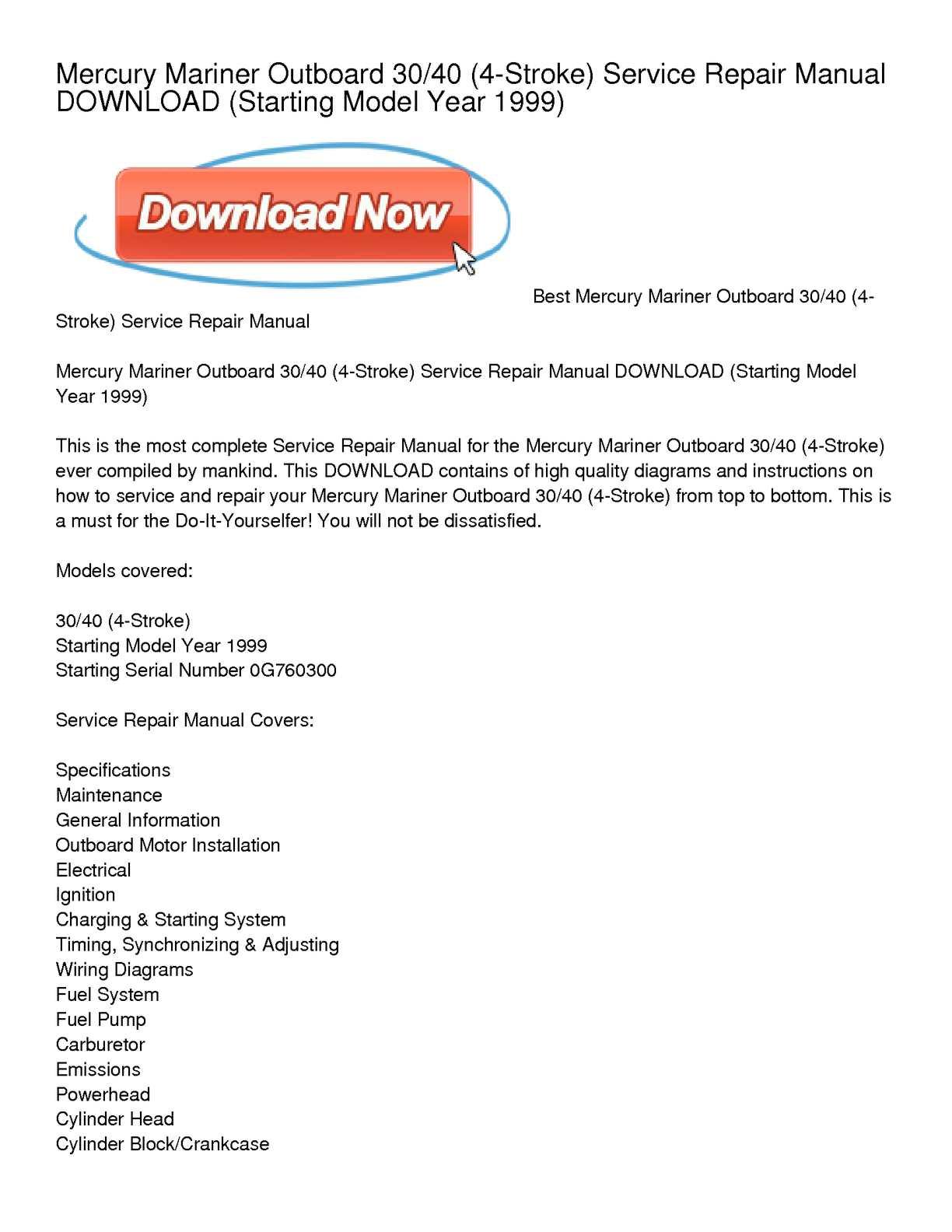 Calaméo - Mercury Mariner Outboard 30_40 (4-Stroke) Service Repair Manual  DOWNLOAD