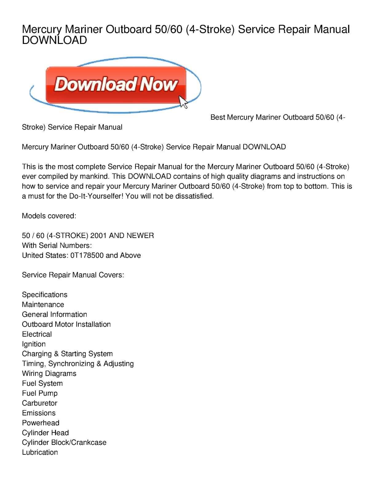 Calaméo - Mercury Mariner Outboard 50_60 (4-Stroke) Service Repair Manual  DOWNLOAD