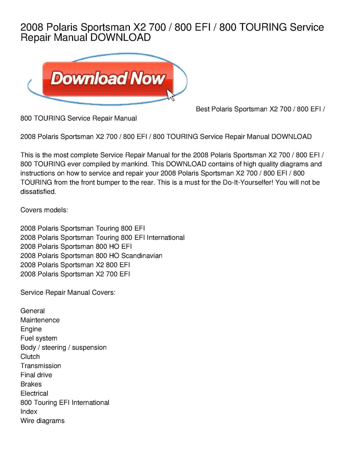 2008 polaris sportsman x2 700 _ 800 efi _ 800 touring service repair manual  download