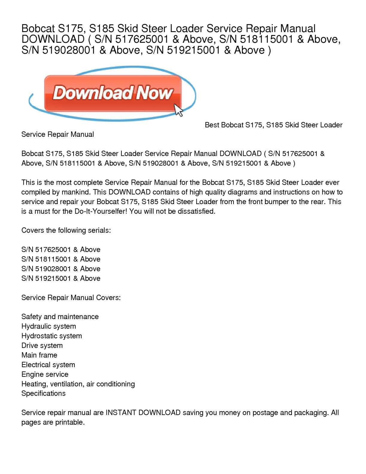Calaméo - Bobcat S175, S185 Skid Steer Loader Service Repair Manual