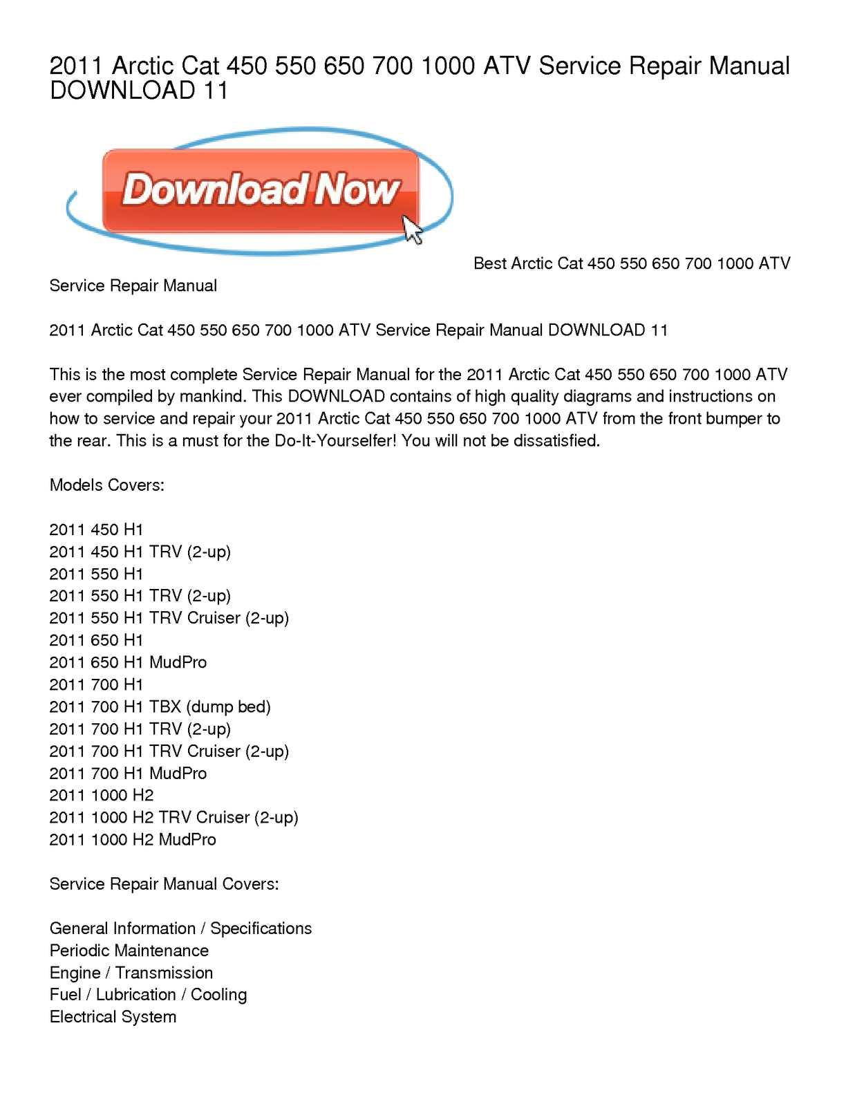 Calaméo - 2011 Arctic Cat 450 550 650 700 1000 ATV Service Repair Manual  DOWNLOAD 11