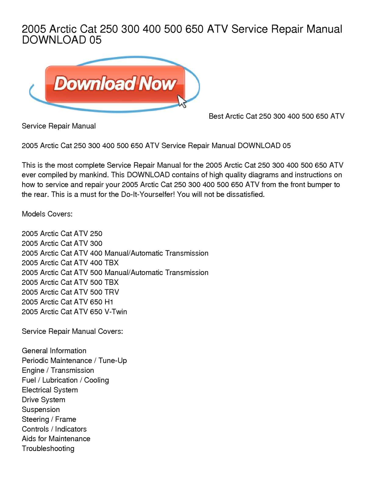 Calaméo - 2005 Arctic Cat 250 300 400 500 650 ATV Service Repair Manual  DOWNLOAD 05