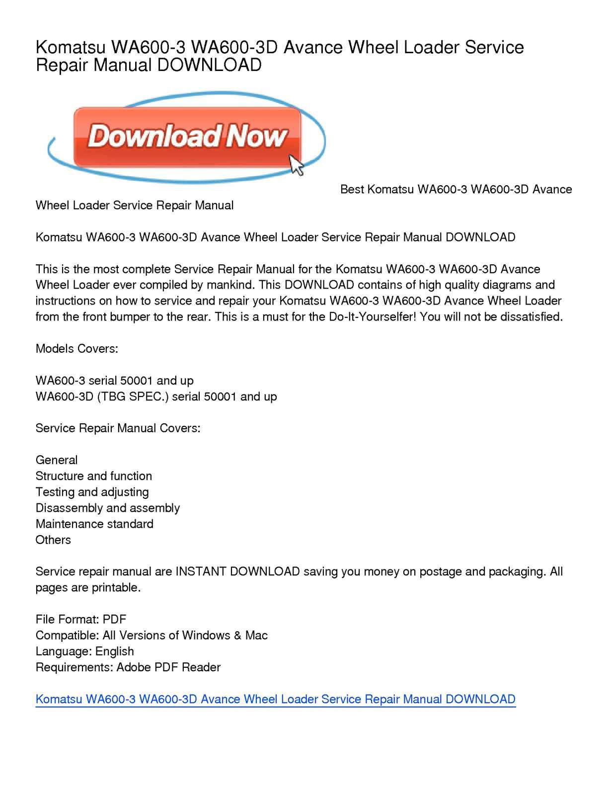 Calaméo - Komatsu WA600-3 WA600-3D Avance Wheel Loader Service Repair Manual  DOWNLOAD