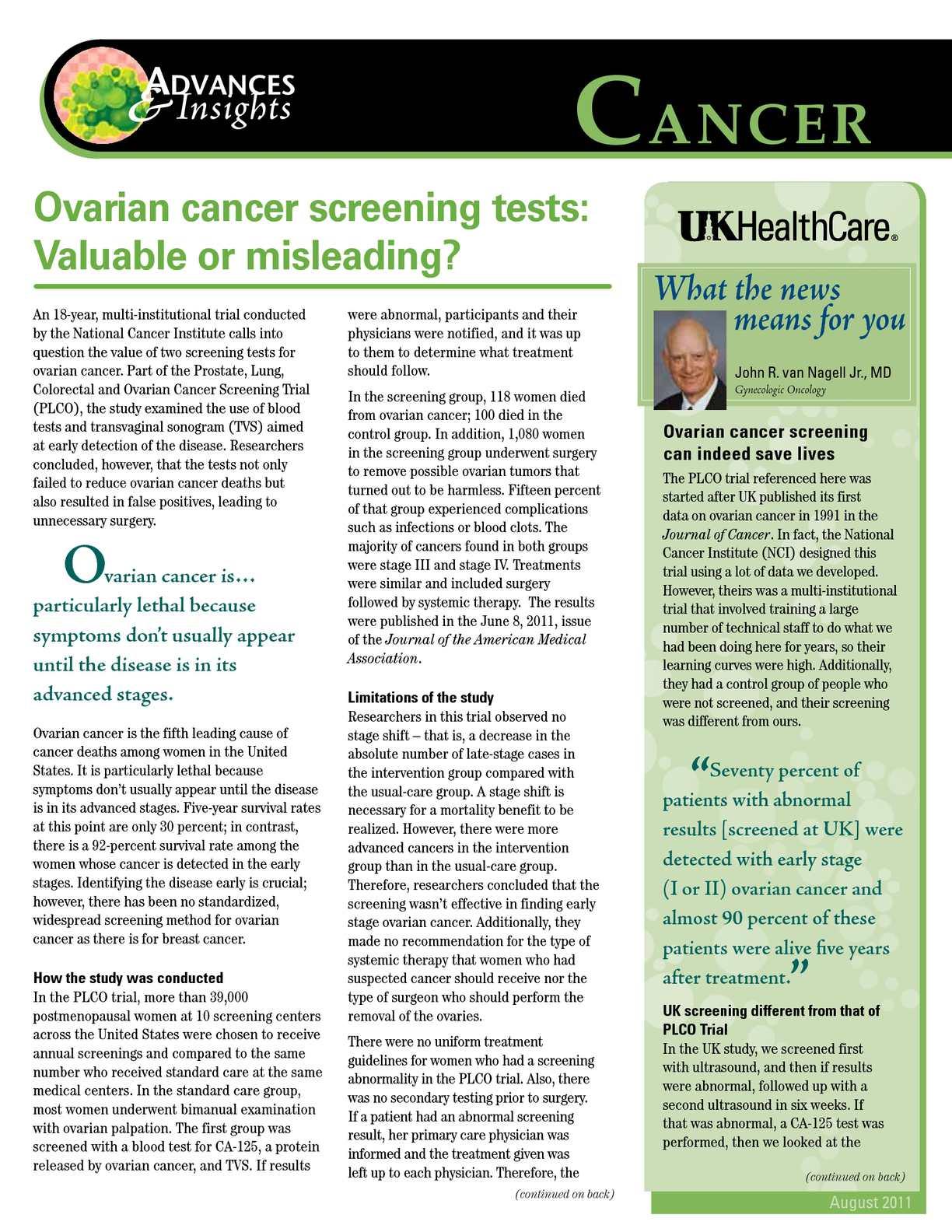 Calameo Valuable Ovarian Cancer Screening