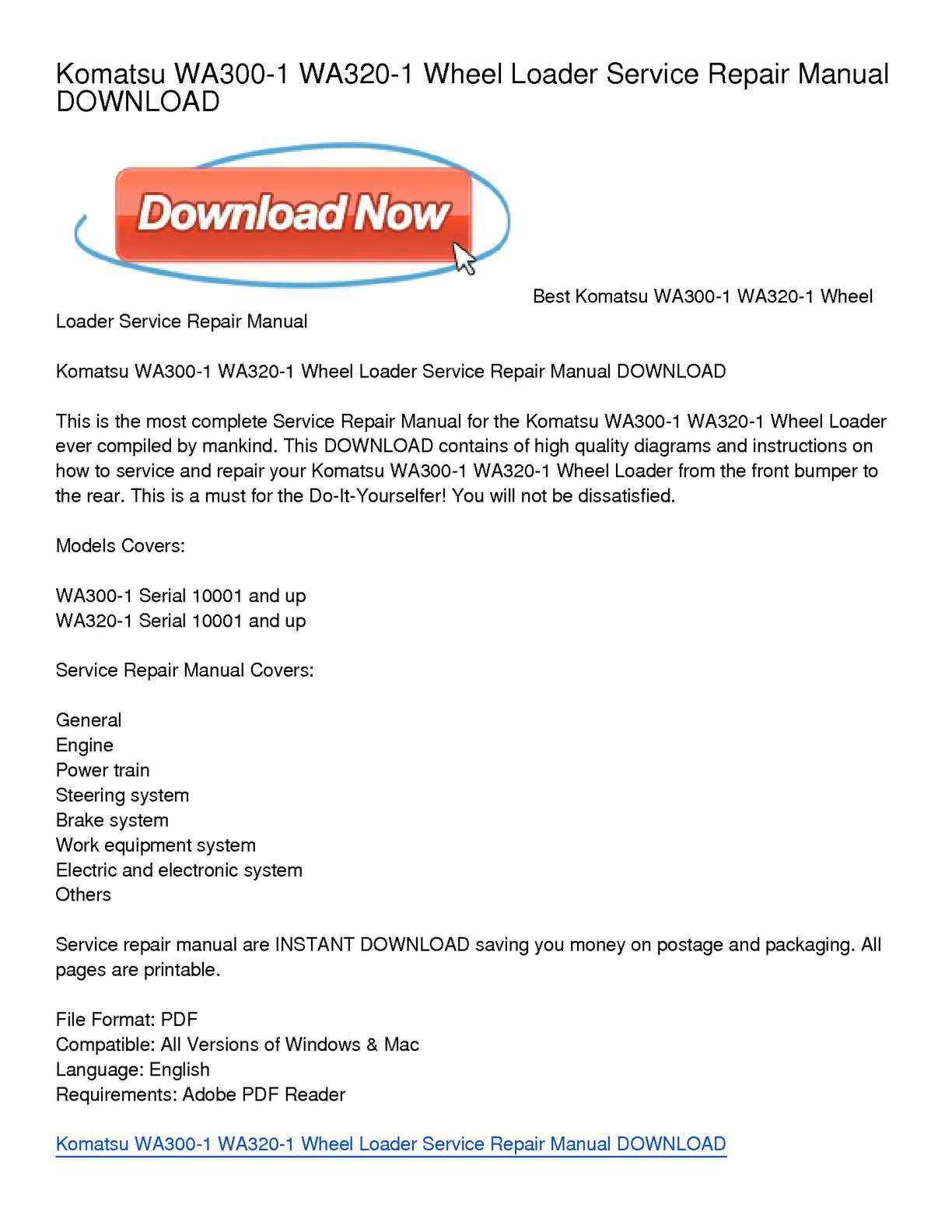 Calaméo - Komatsu WA300-1 WA320-1 Wheel Loader Service Repair Manual  DOWNLOAD