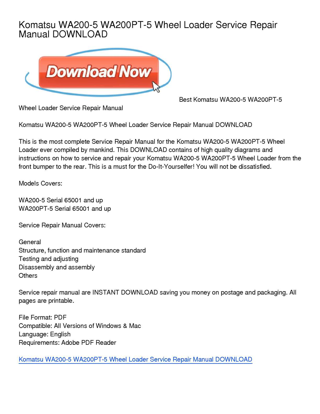 Calaméo - Komatsu WA200-5 WA200PT-5 Wheel Loader Service Repair Manual  DOWNLOAD