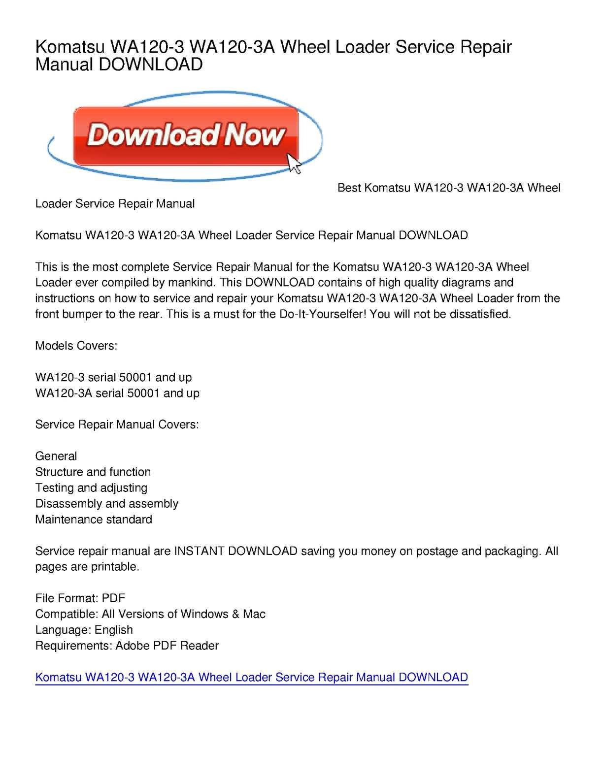 Calaméo - Komatsu WA120-3 WA120-3A Wheel Loader Service Repair Manual  DOWNLOAD