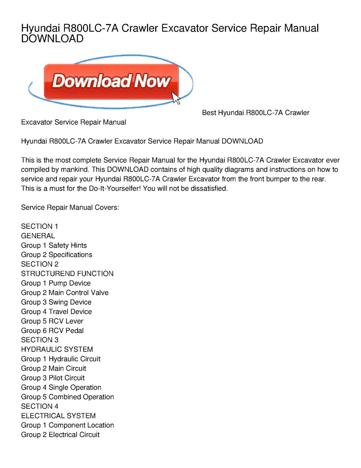 Calaméo - Hyundai R800LC-7A Crawler Excavator Service Repair Manual DOWNLOAD