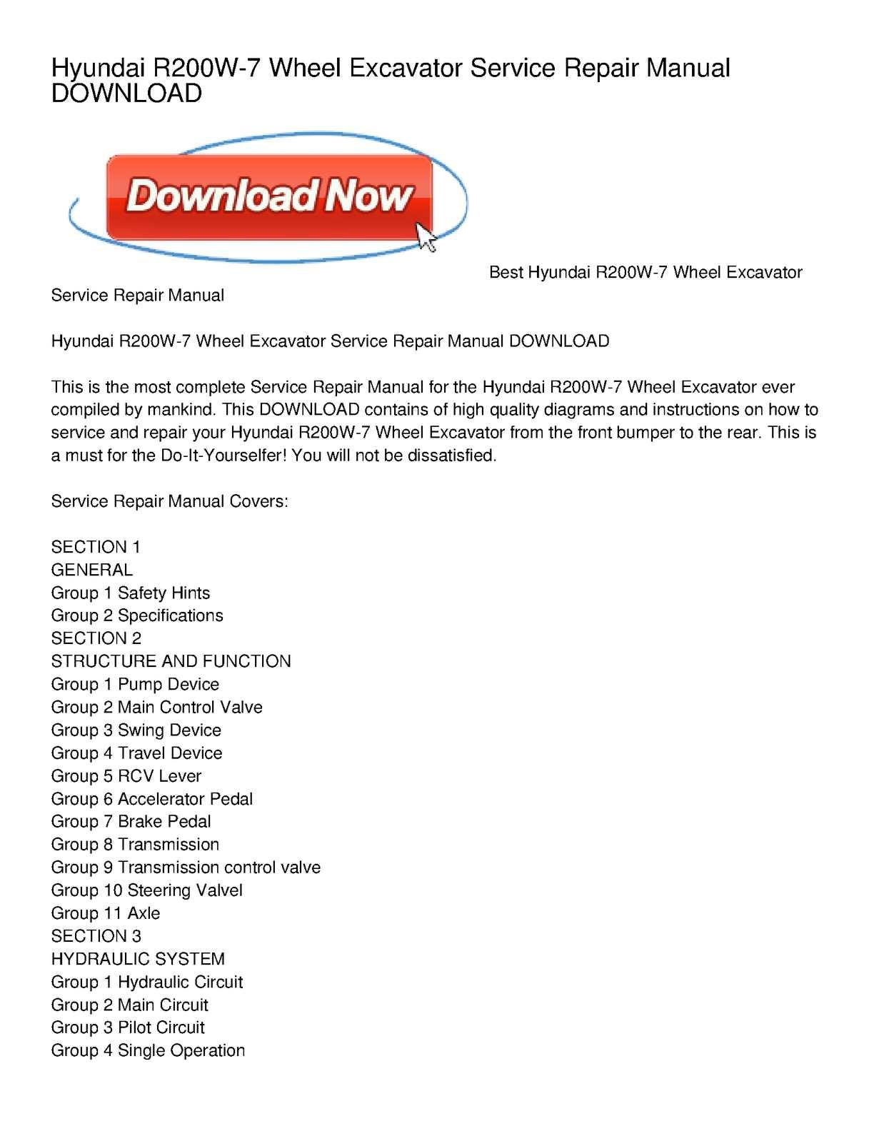 Calameo Hyundai R200w 7 Wheel Excavator Service Repair Manual Download