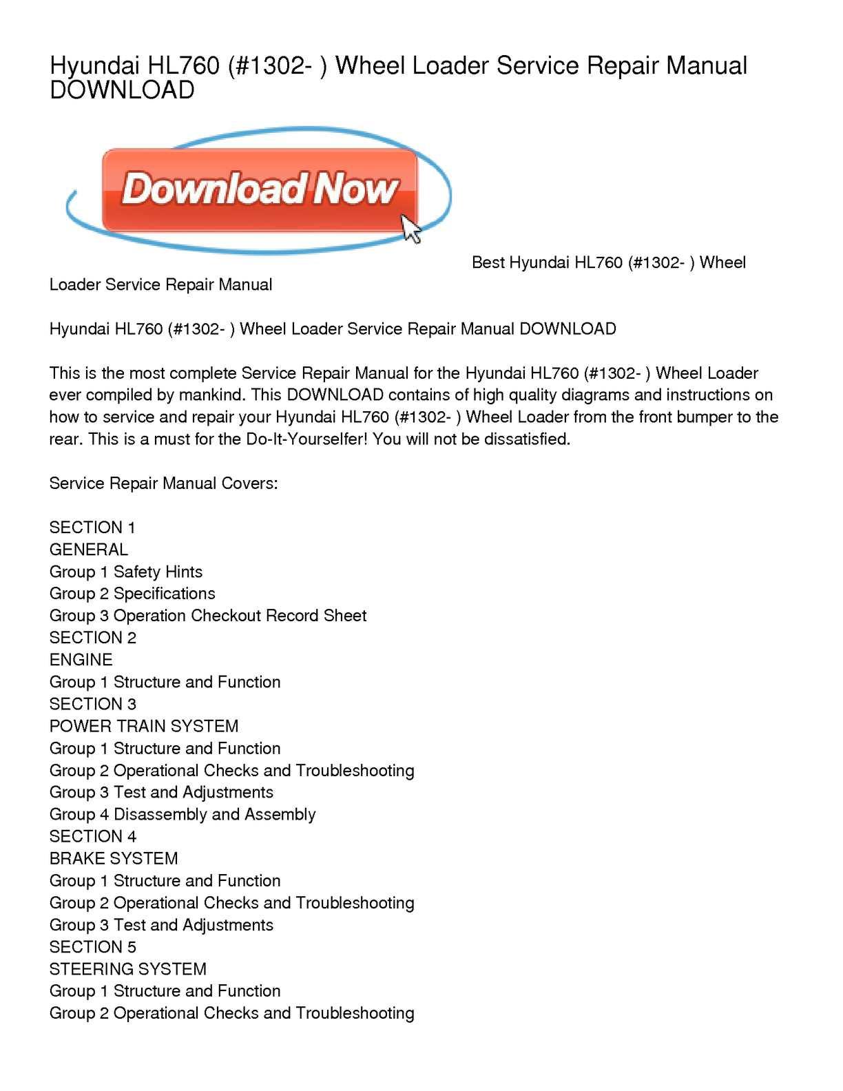 Calaméo - Hyundai HL760 (#1302- ) Wheel Loader Service Repair Manual  DOWNLOAD
