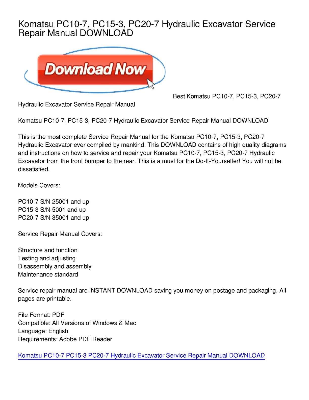 Calaméo - Komatsu PC10-7, PC15-3, PC20-7 Hydraulic Excavator