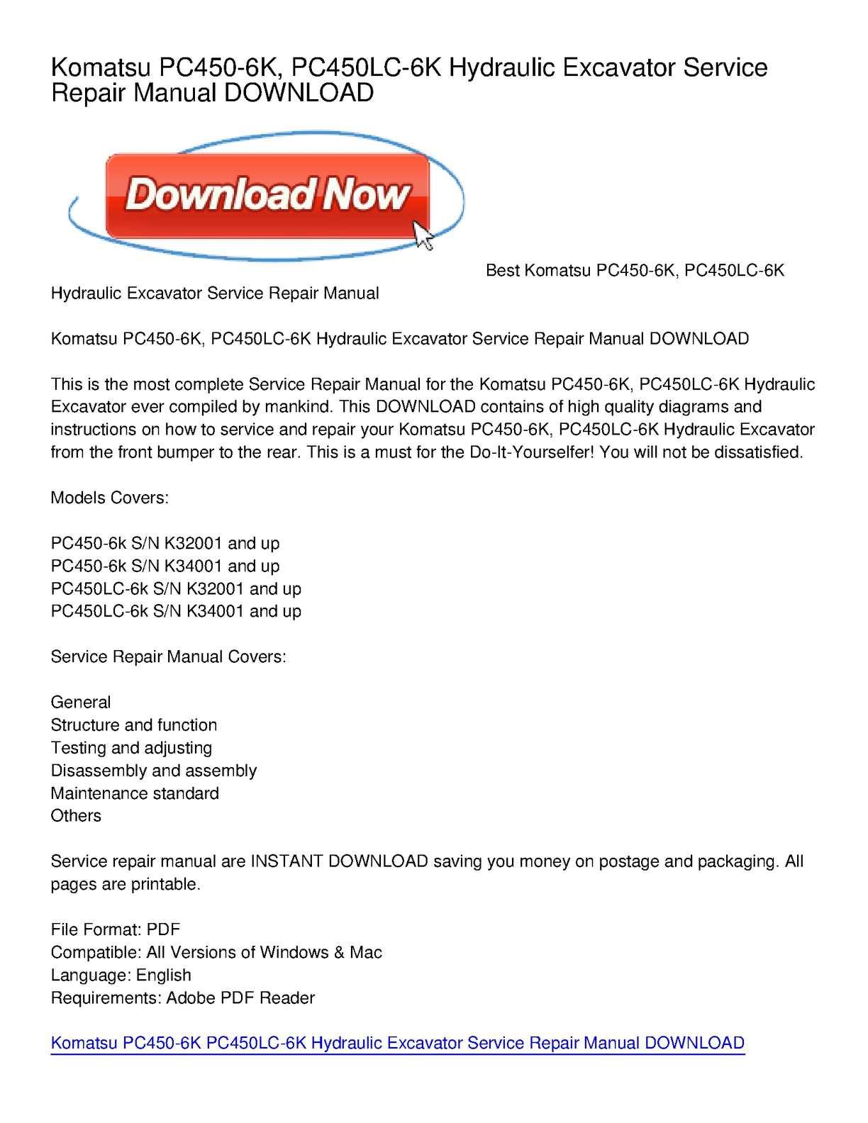 Calaméo - Komatsu PC450-6K, PC450LC-6K Hydraulic Excavator Service Repair  Manual DOWNLOAD