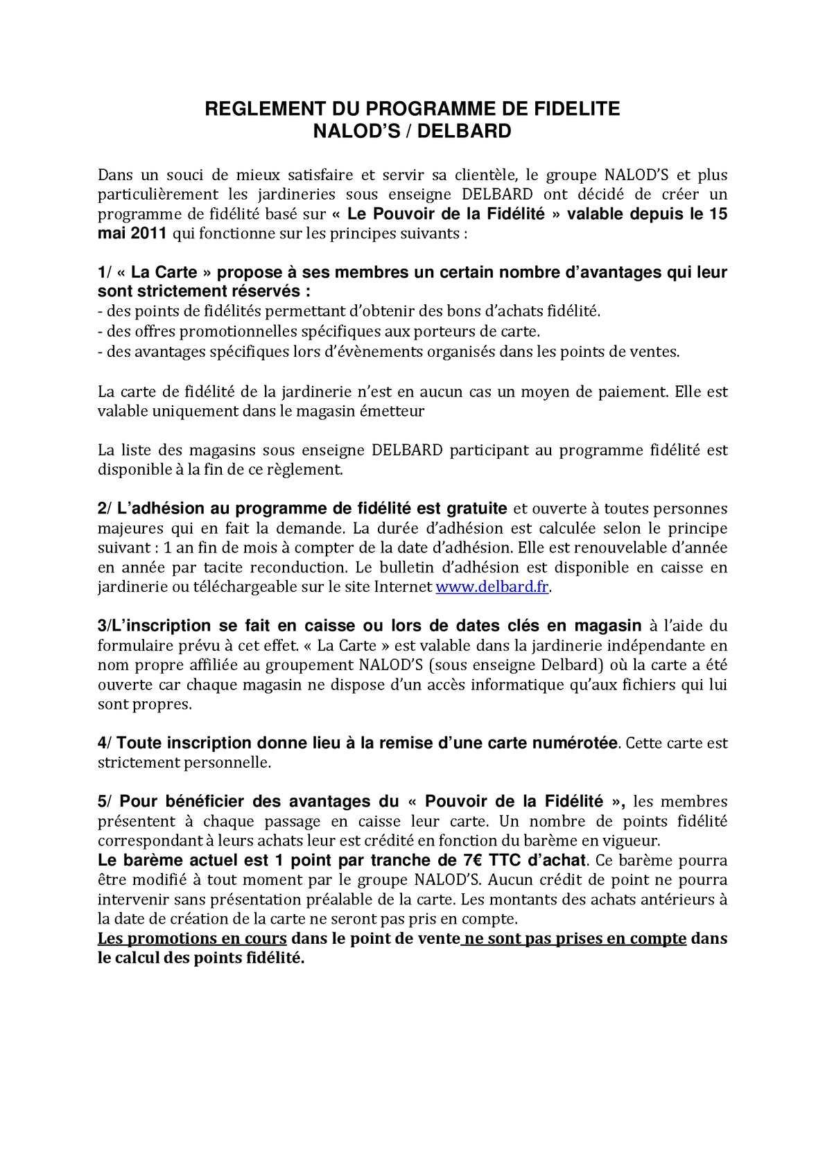 Calameo Reglement Du Programme Fidelite Jardinerie Delbard