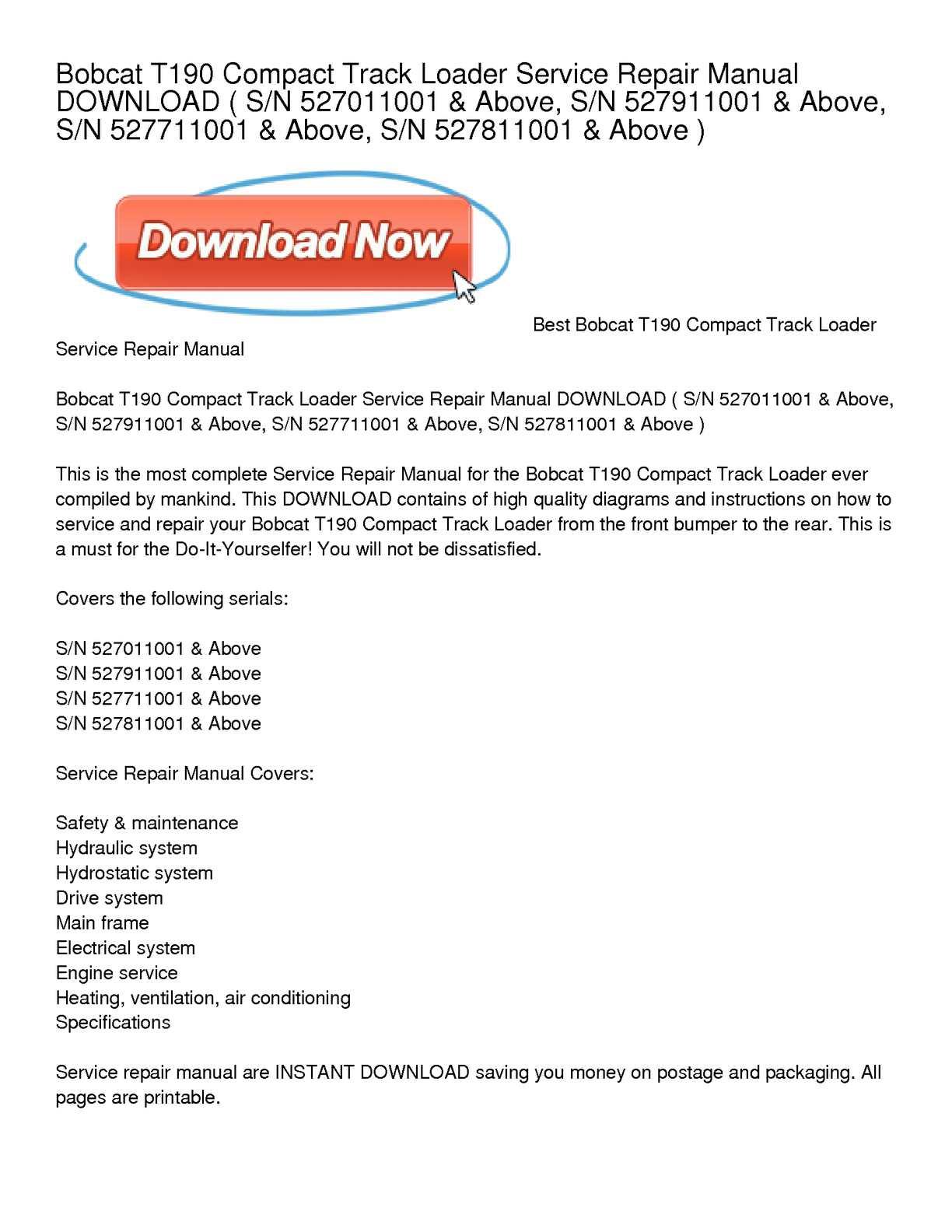 bobcat t190 compact track loader service repair manual download
