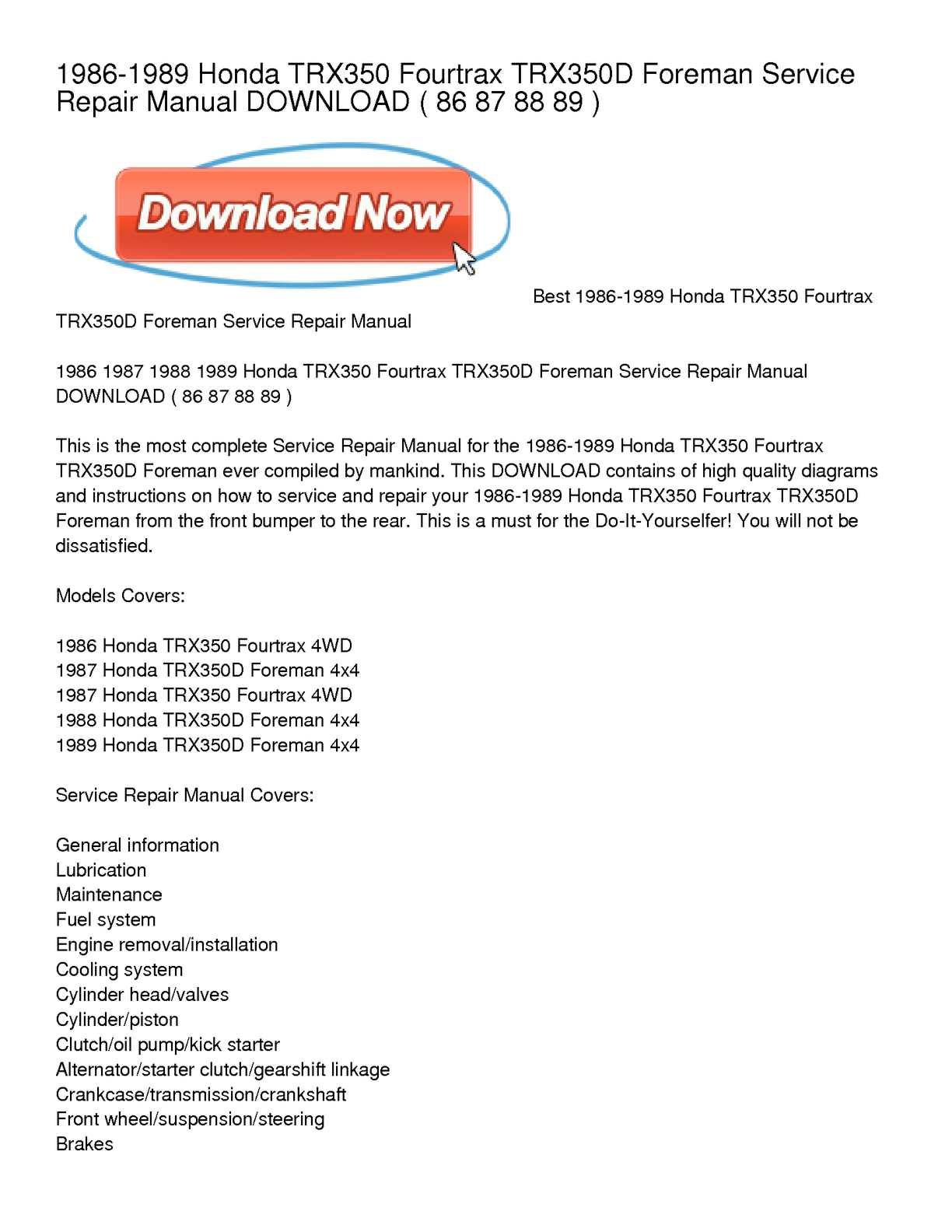 1986-1989 honda trx350 fourtrax trx350d foreman service repair manual  download
