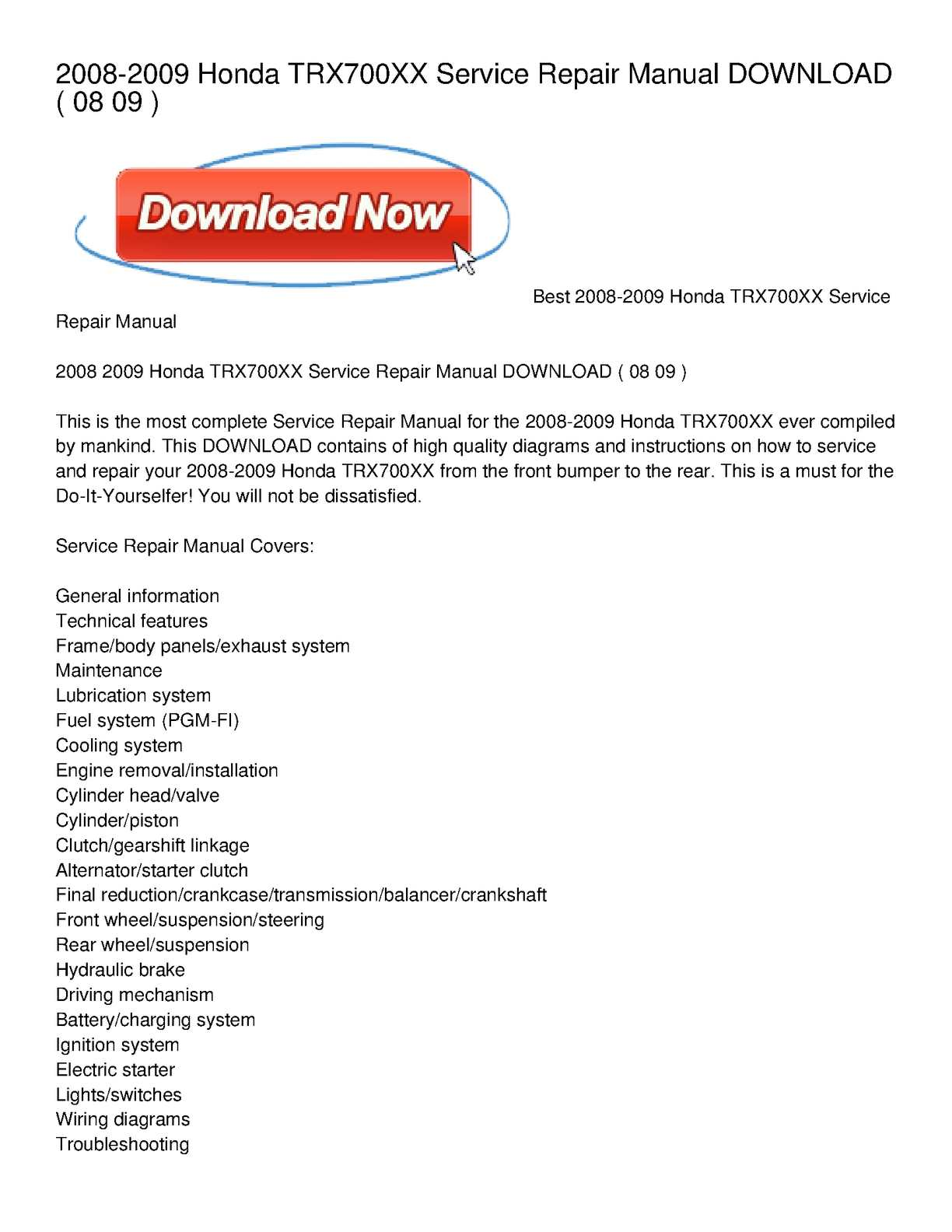 Calaméo - 2008-2009 Honda TRX700XX Service Repair Manual ... on