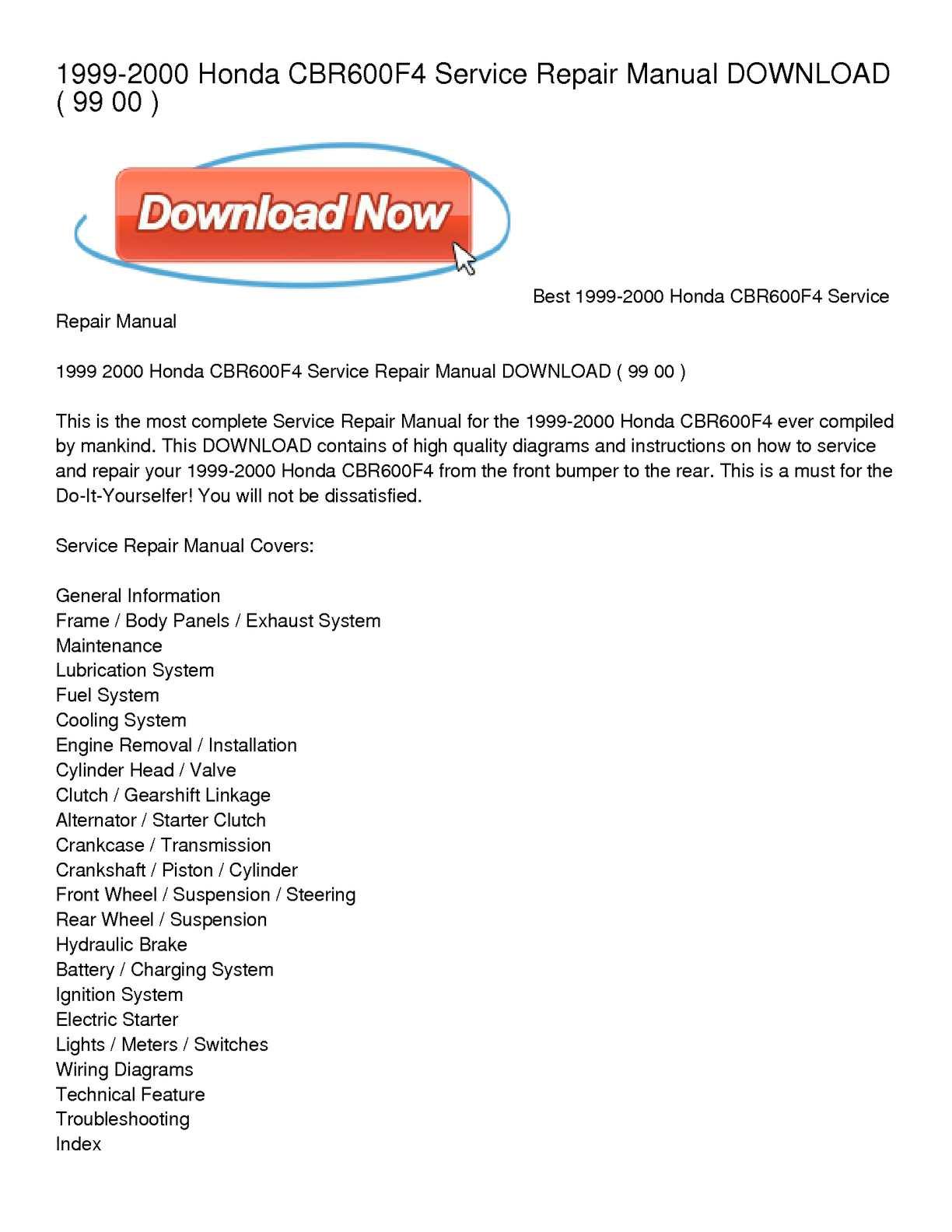 1999-2000 honda cbr600f4 service repair manual download
