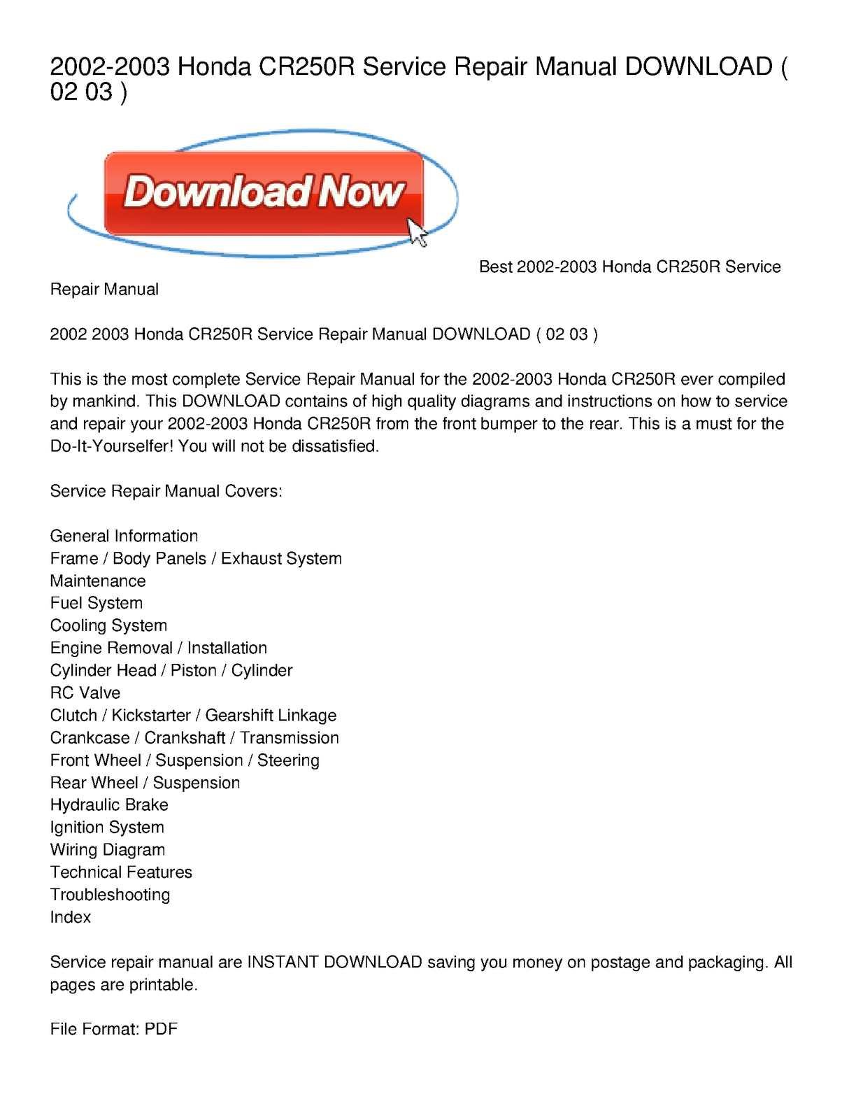 cr250 manual free download
