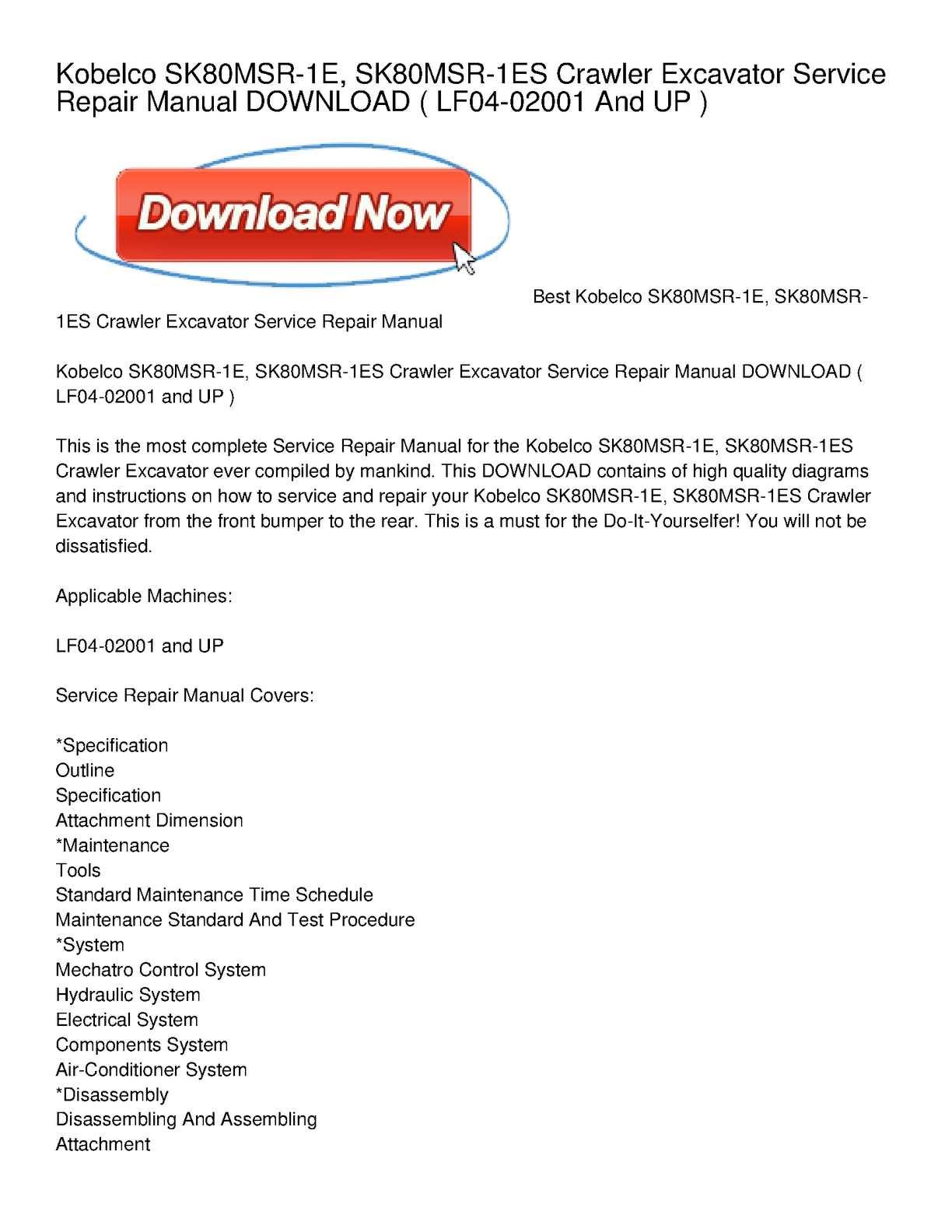 Calaméo - Kobelco SK80MSR-1E, SK80MSR-1ES Crawler Excavator Service Repair  Manual DOWNLOAD