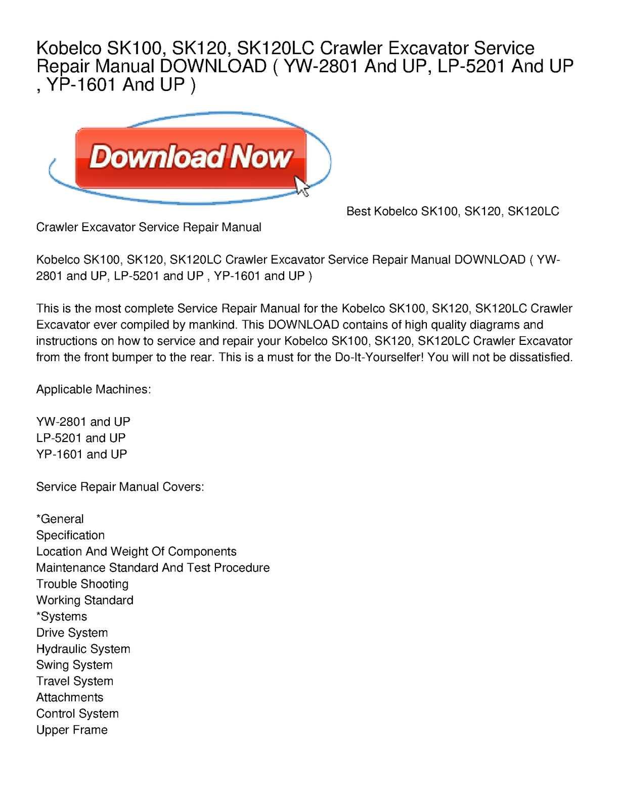 Calaméo - Kobelco SK100, SK120, SK120LC Crawler Excavator Service Repair  Manual DOWNLOAD
