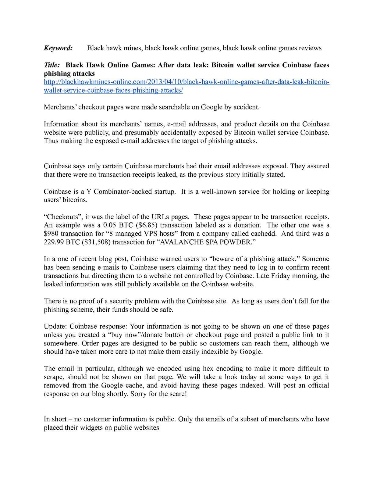 Calaméo - Black Hawk Online Games: After data leak: Bitcoin