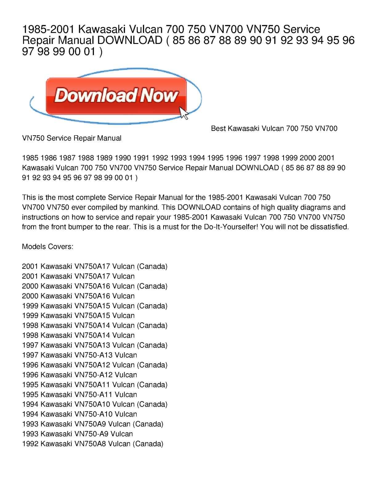 Calaméo - 1985-2001 Kawasaki Vulcan 700 750 VN700 VN750 Service Repair  Manual DOWNLOAD