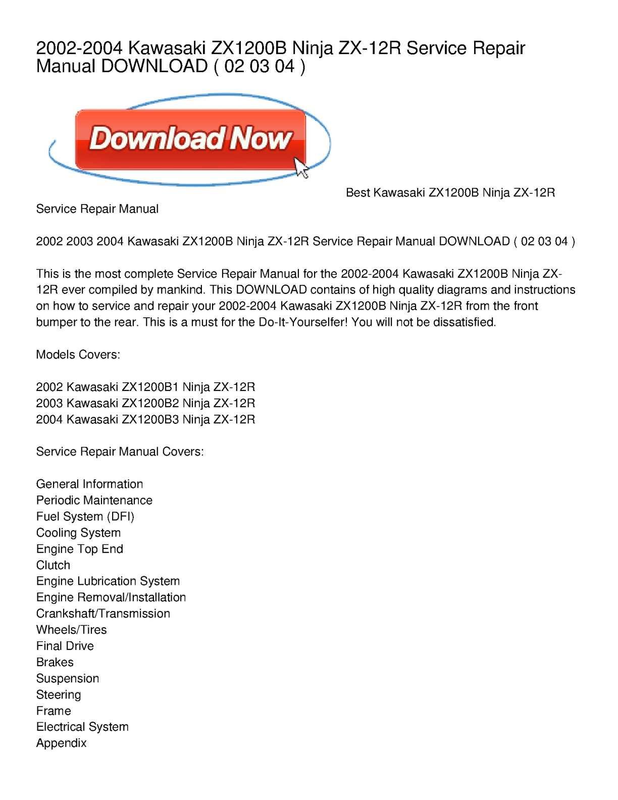 Calaméo - 2002-2004 Kawasaki ZX1200B Ninja ZX-12R Service Repair Manual  DOWNLOAD