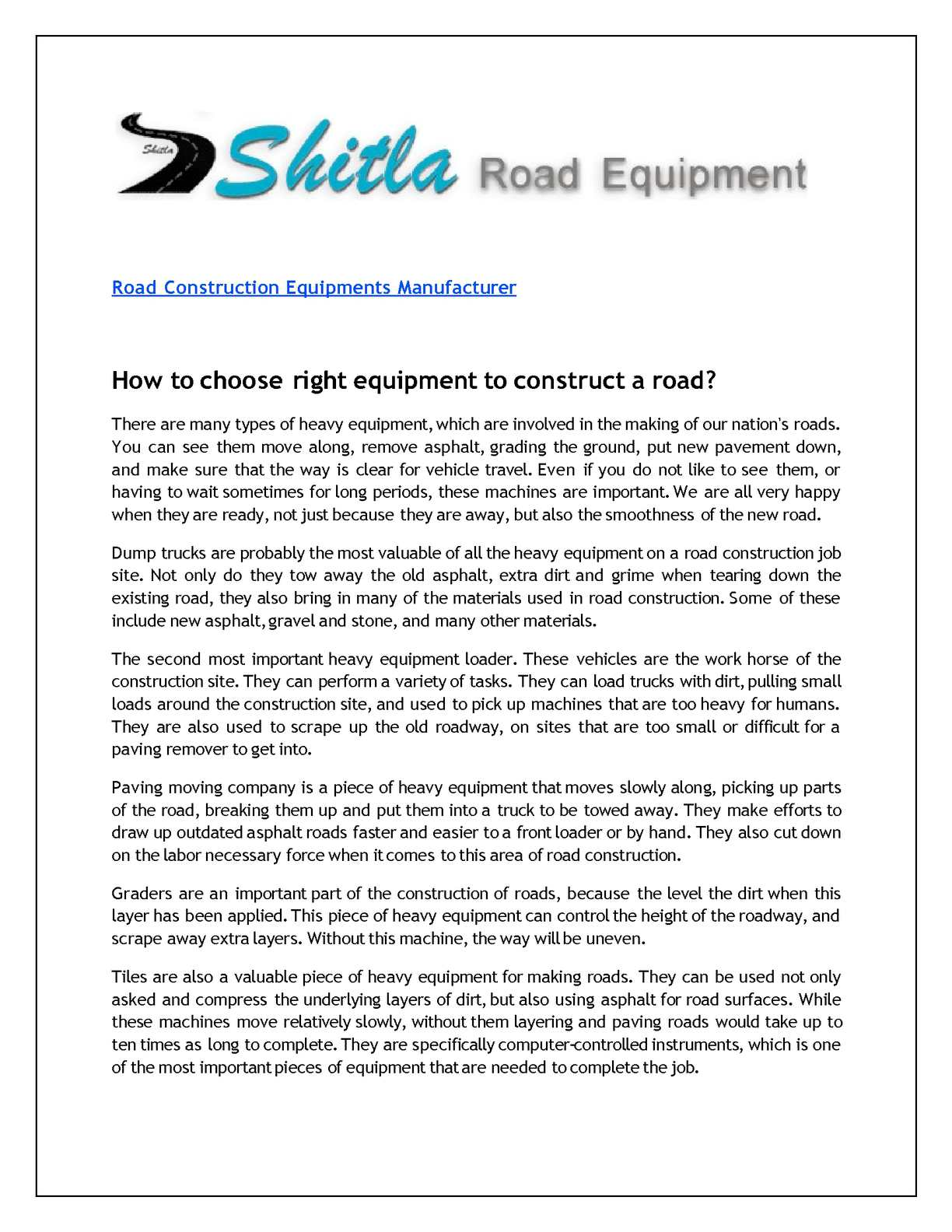 Calaméo - How to choose right equipment to construct a road?