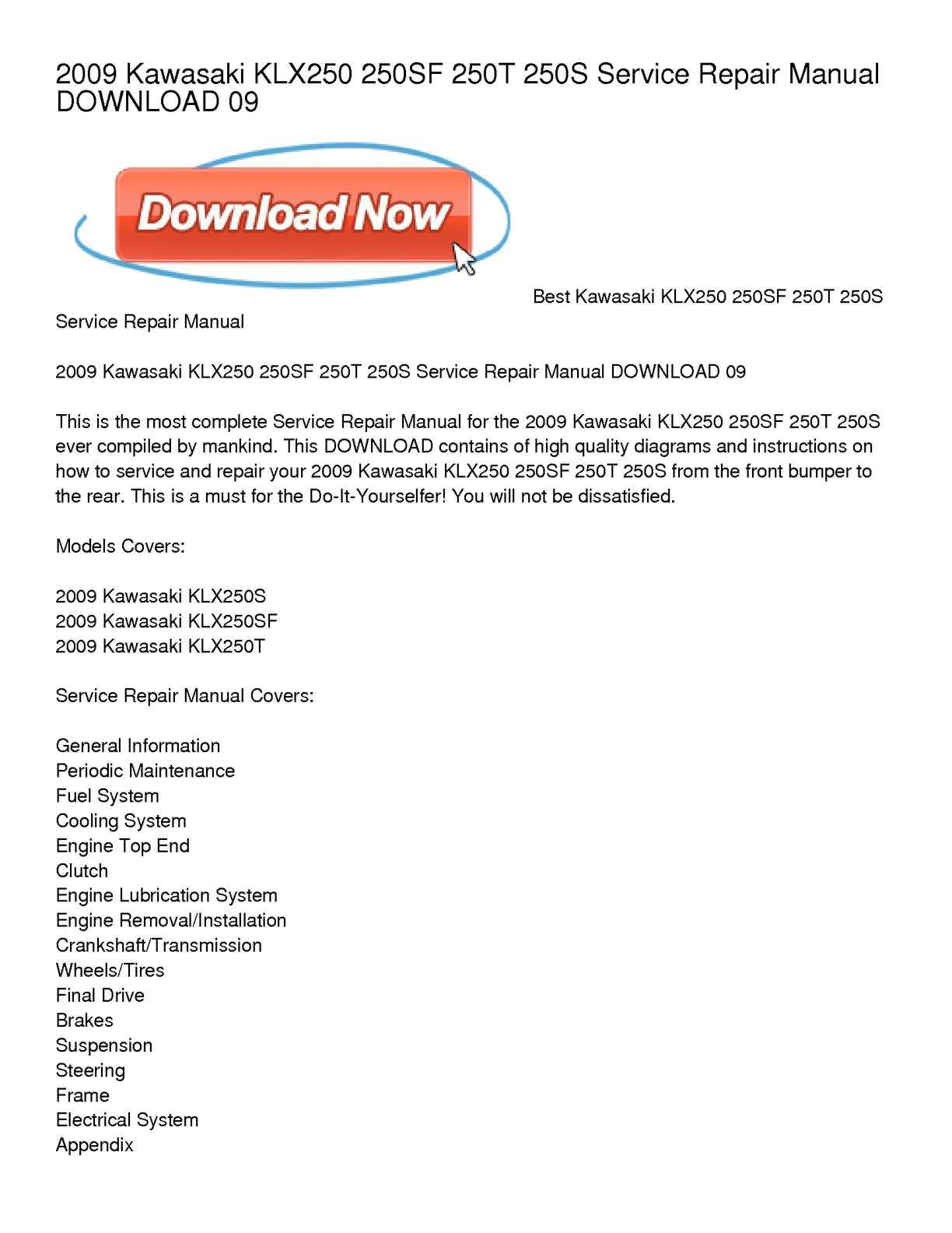 Calaméo - 2009 Kawasaki KLX250 250SF 250T 250S Service Repair Manual  DOWNLOAD 09