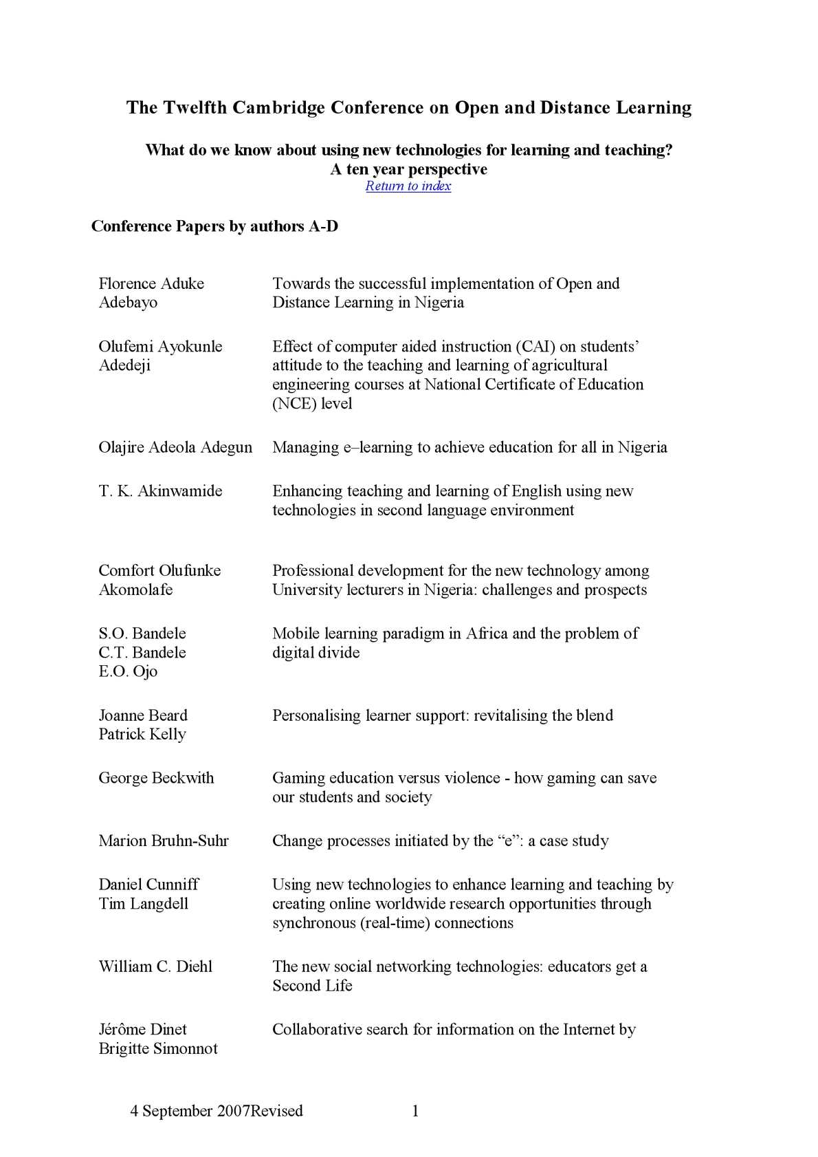 Calaméo - Cambridge Conference Papers - Distance