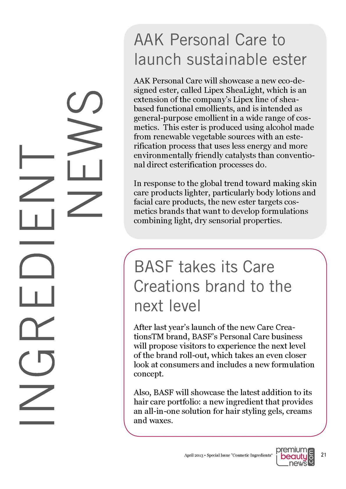 Cosmetic Ingredients - Special issue, PremiumBeautyNews com